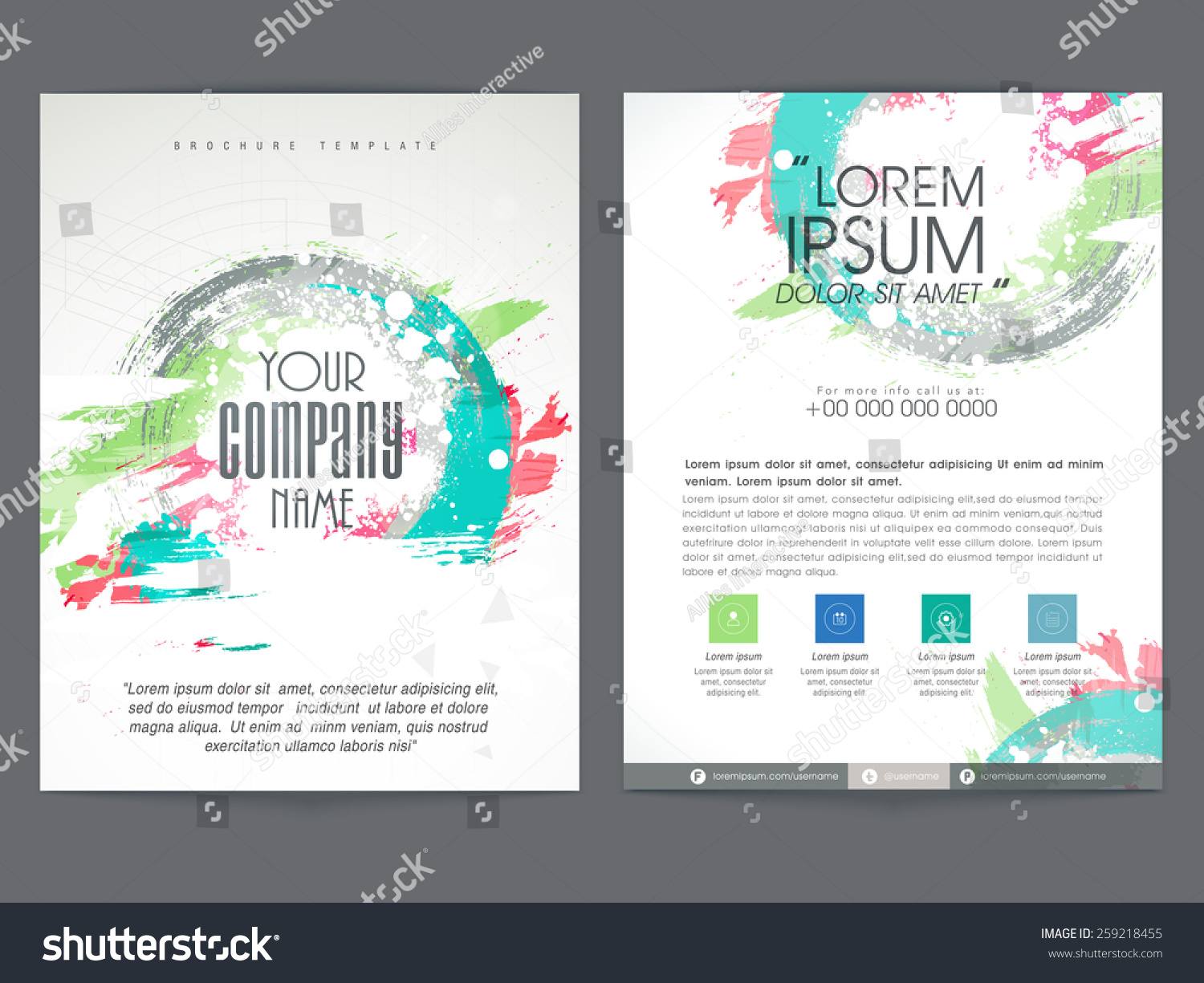Colorful Two Pages Business Brochure Template Stock Vector 259218455