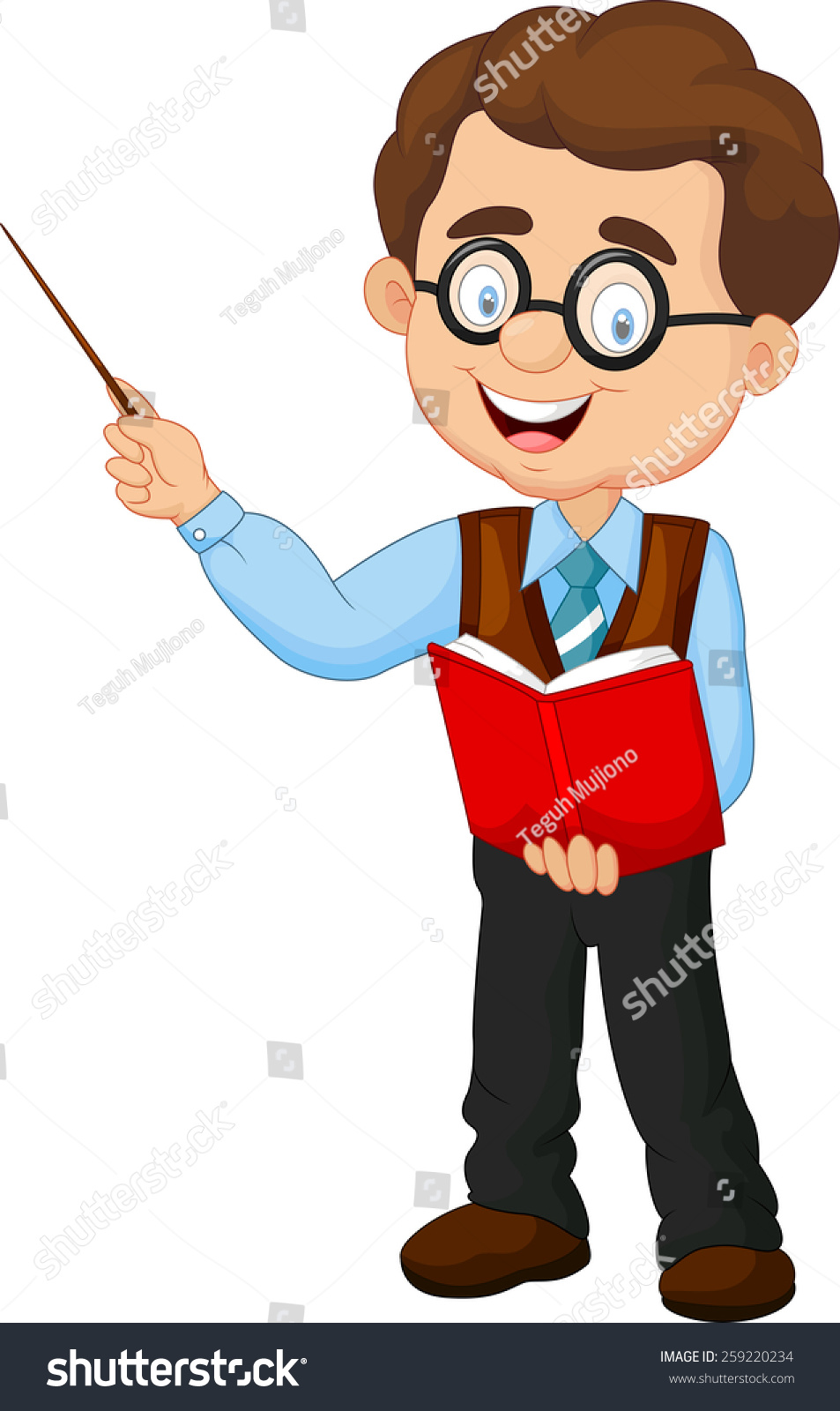 cartoon male teacher stock illustration 259220234