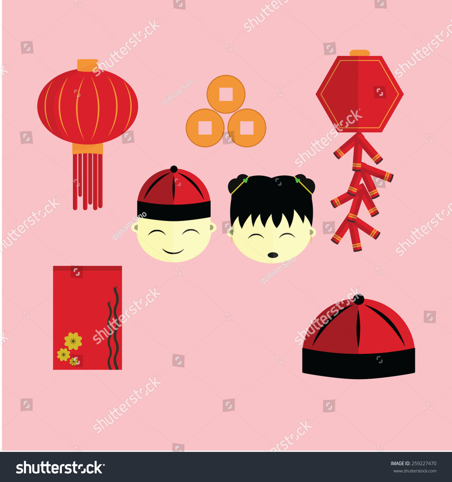Happy Chinese New Year Icon Set