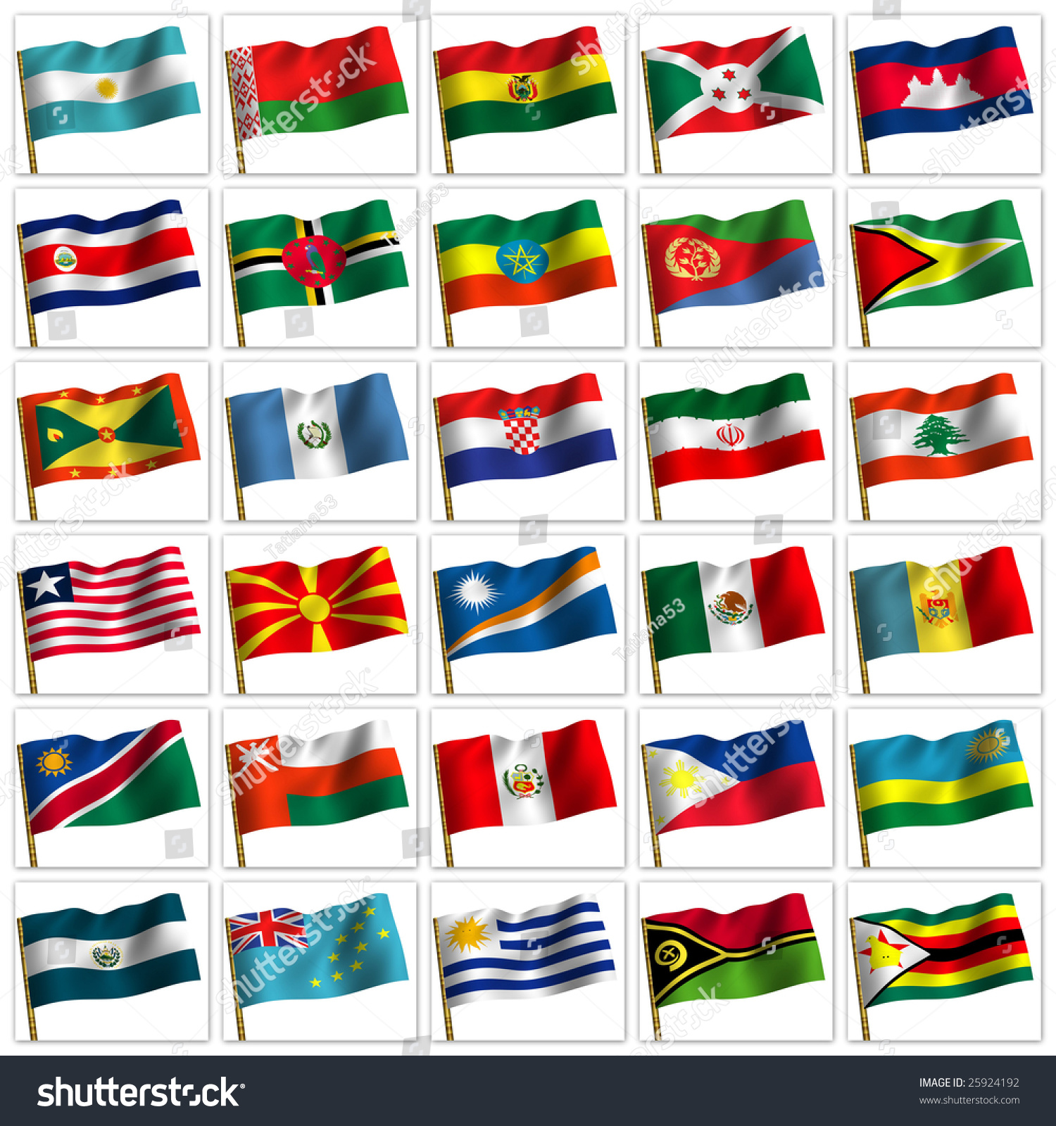 Collage Flags Different Countries World Icon Stock Illustration ...