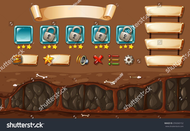 game template underground sceneのベクター画像素材 259260152