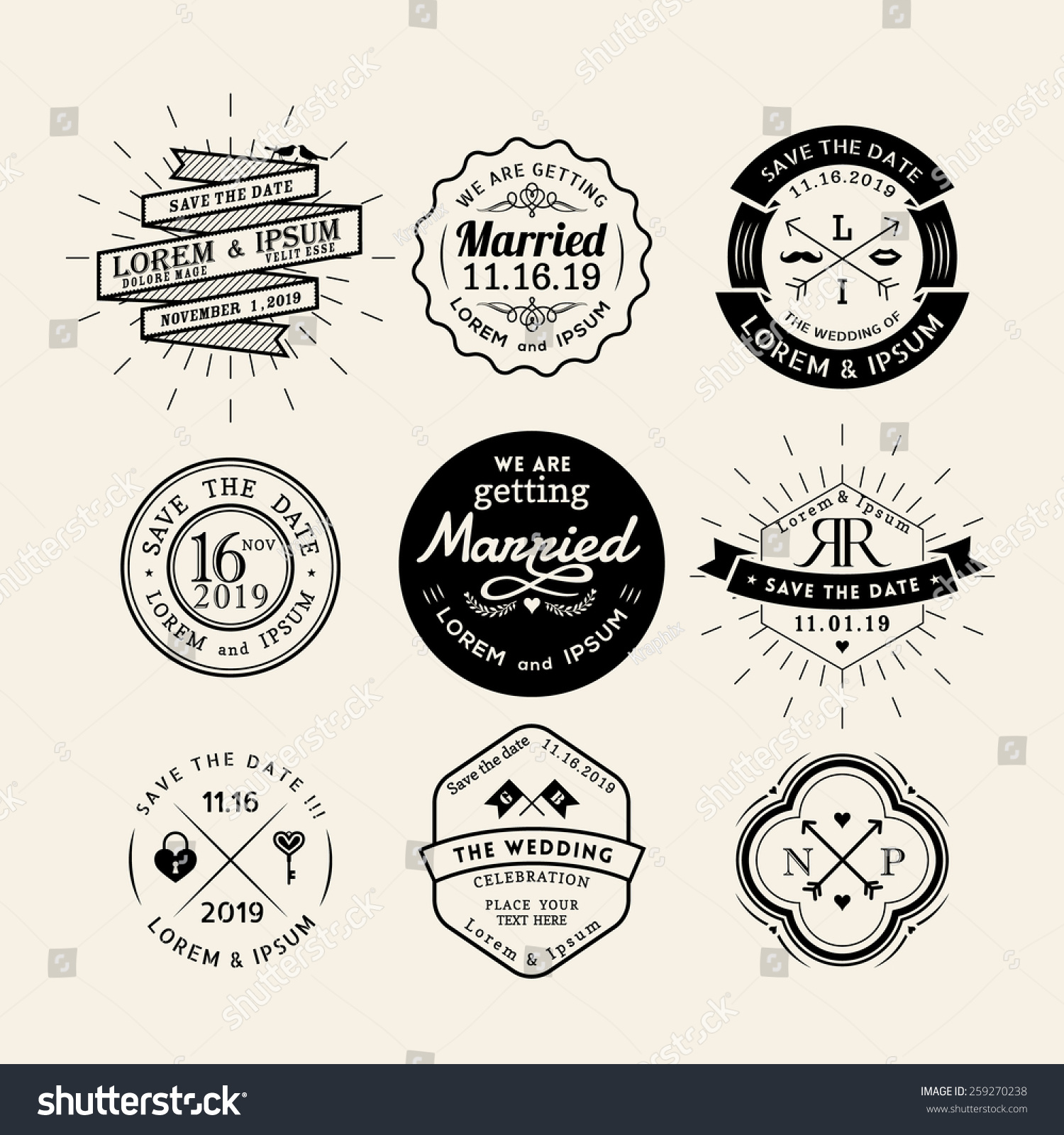 vintage retro wedding logo frame badge vector design element