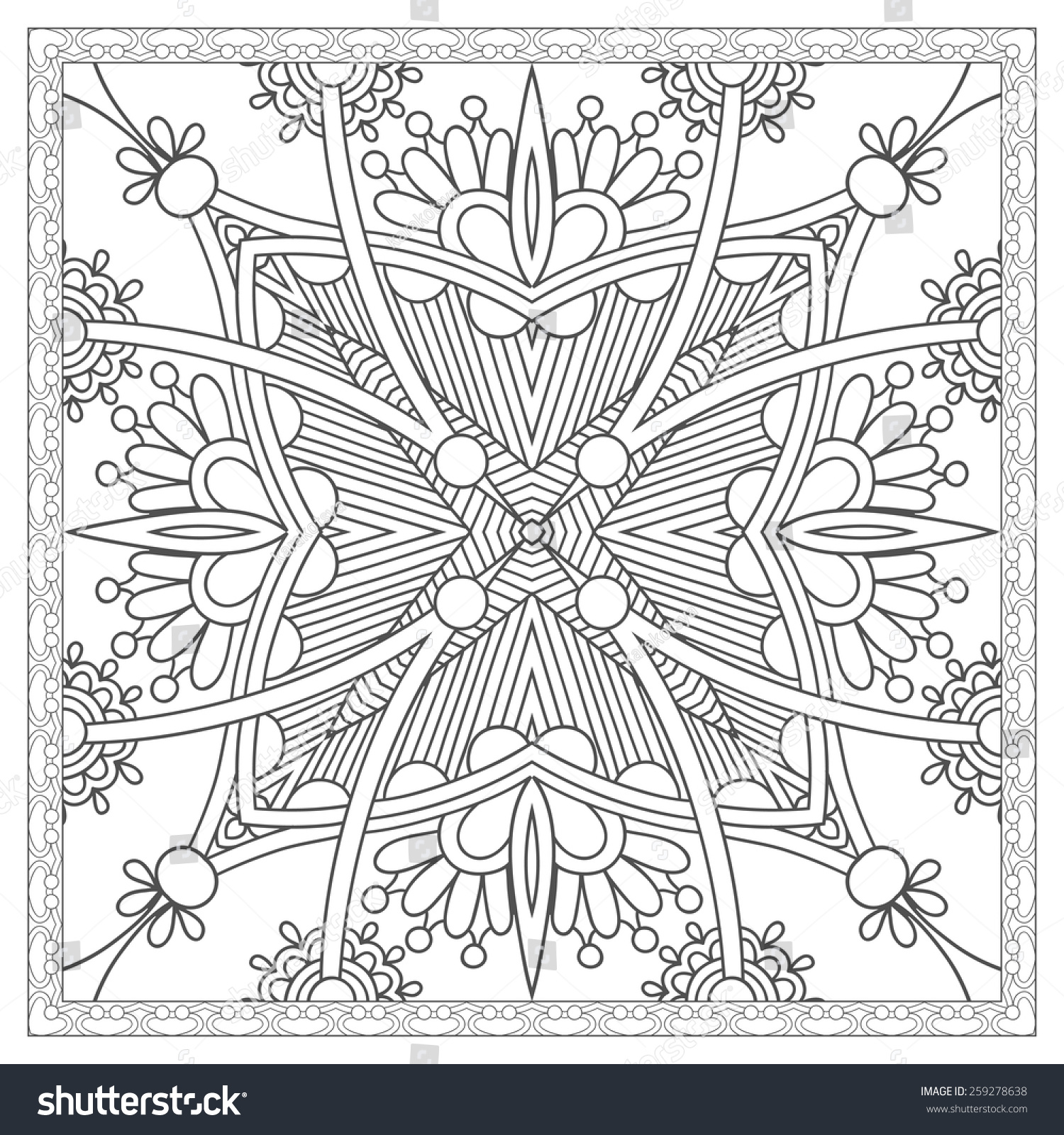 Unique coloring book square page for adults floral for Unique coloring pages for adults