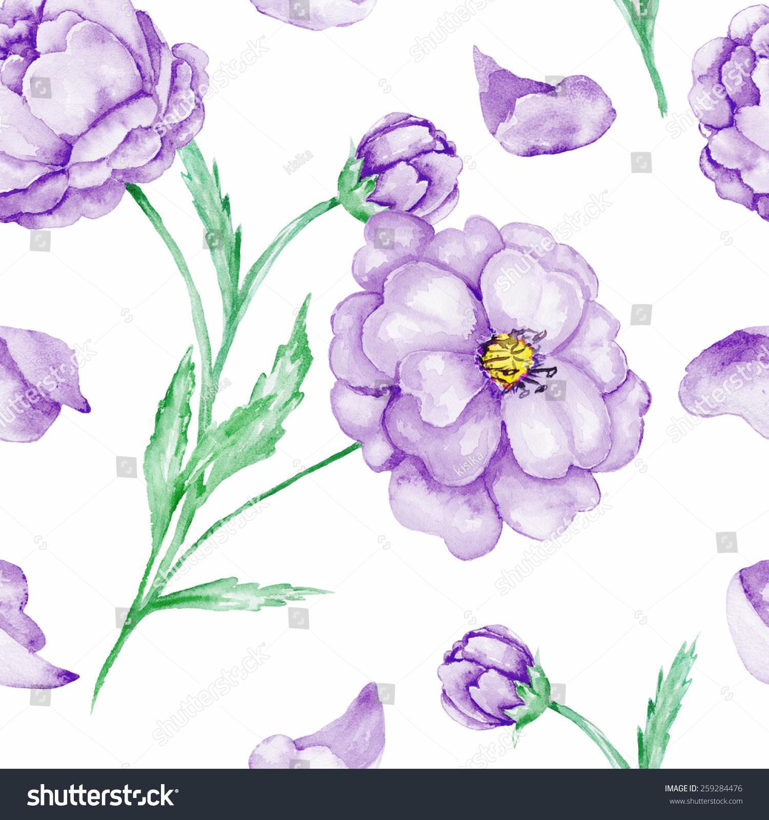Seamless Background Purple Flowers Watercolor Pattern Stock