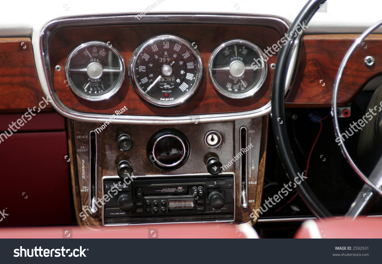 old vintage wooden car dashboard speed oil fuel water stock photo 2592931 shutterstock. Black Bedroom Furniture Sets. Home Design Ideas