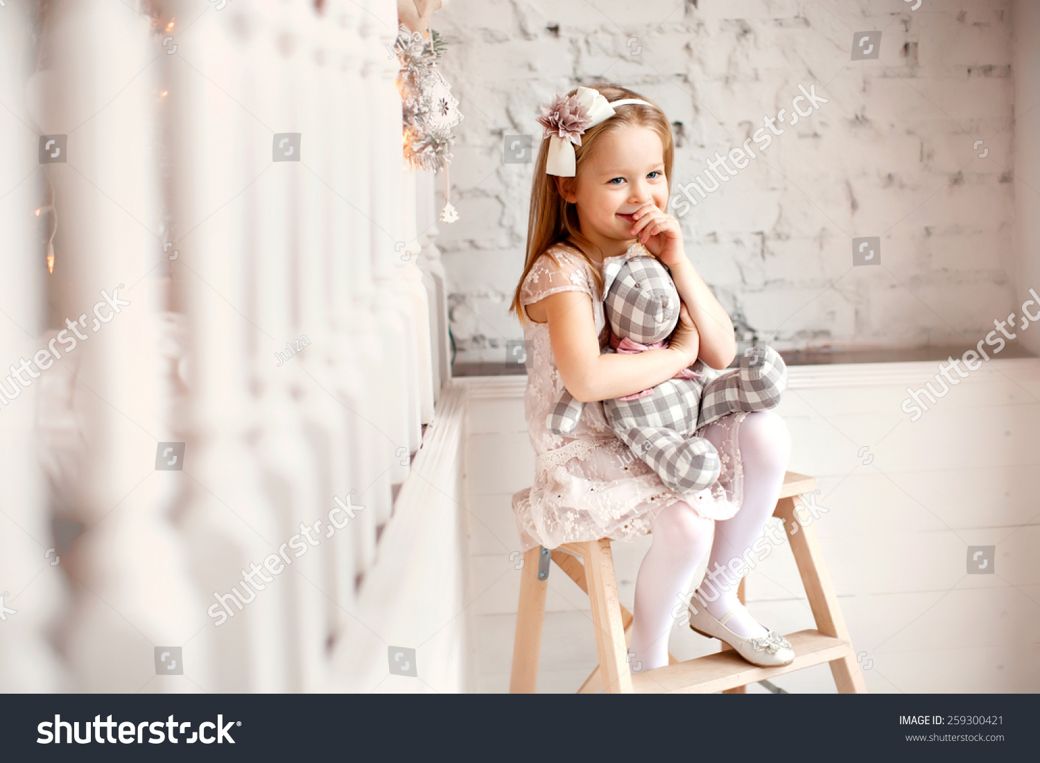 little smiling cute beautiful dress stock photo 259300421
