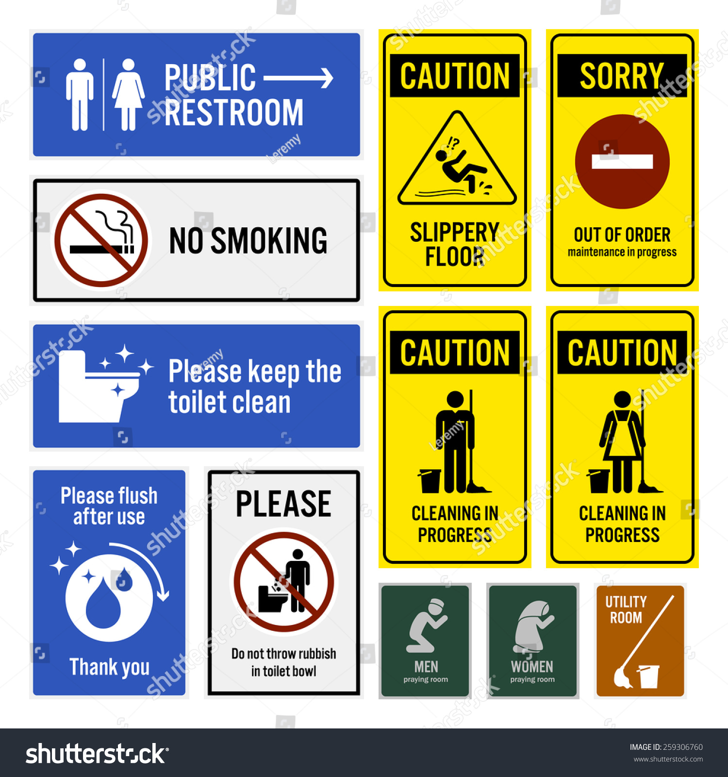 Toilet Notice and Restroom Warning Sign Signboards. Toilet Notice Restroom Warning Sign Signboards Stock Vector