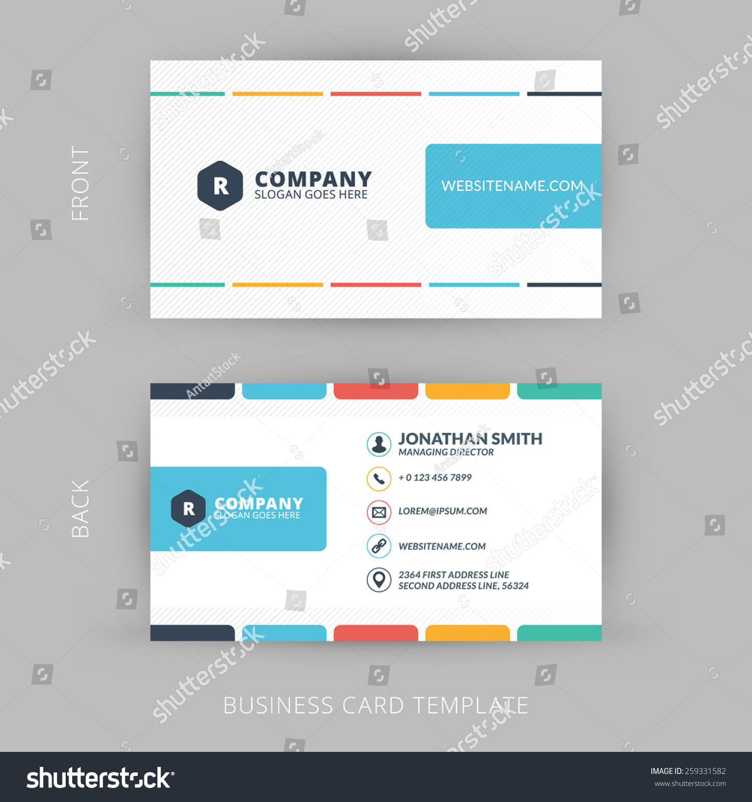 Vector modern creative clean business card stock vector 259331582 vector modern creative and clean business card template flat design magicingreecefo Gallery