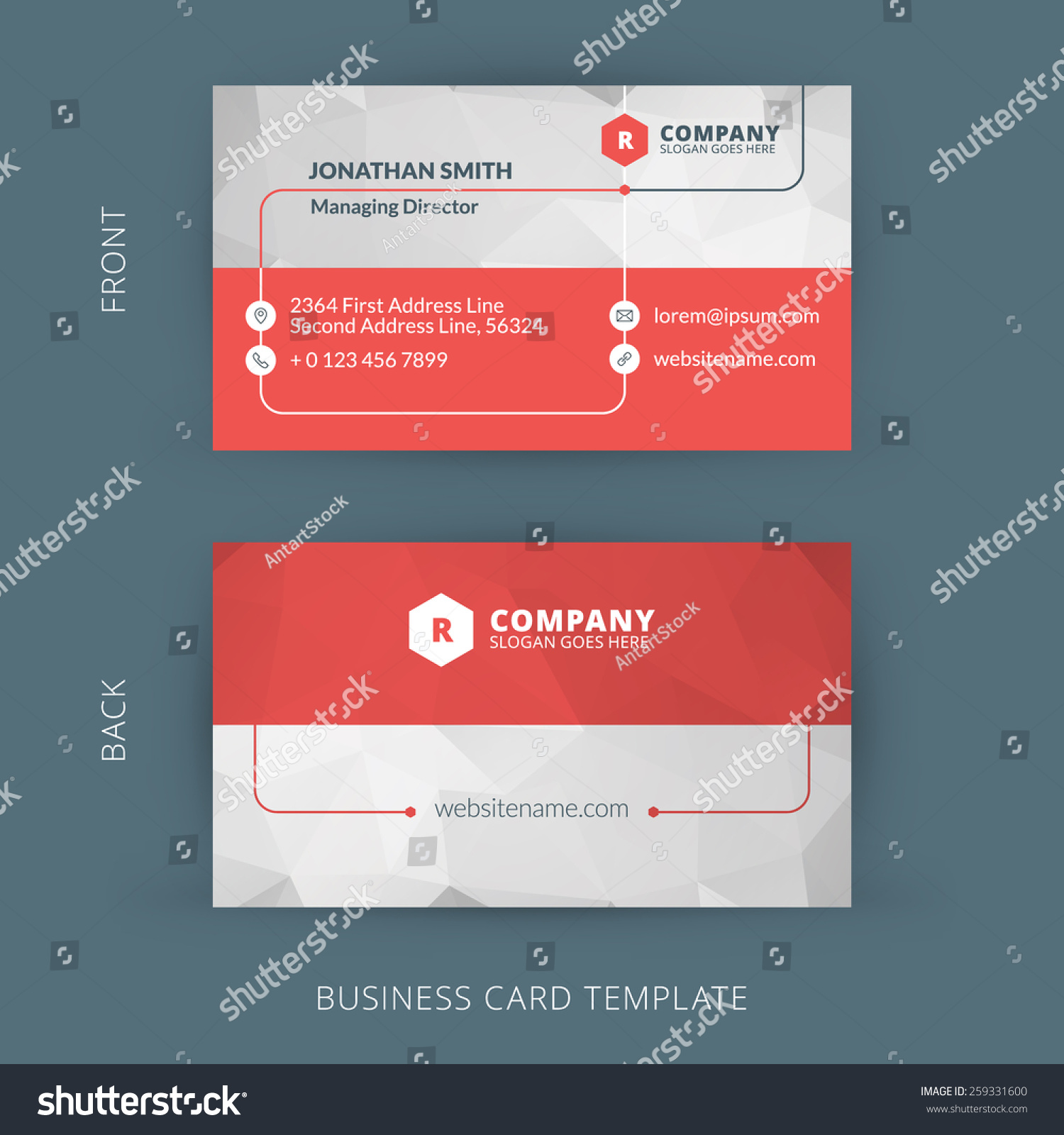 Vector modern creative clean business card stock vector 259331600 vector modern creative and clean business card template flat design colourmoves Choice Image