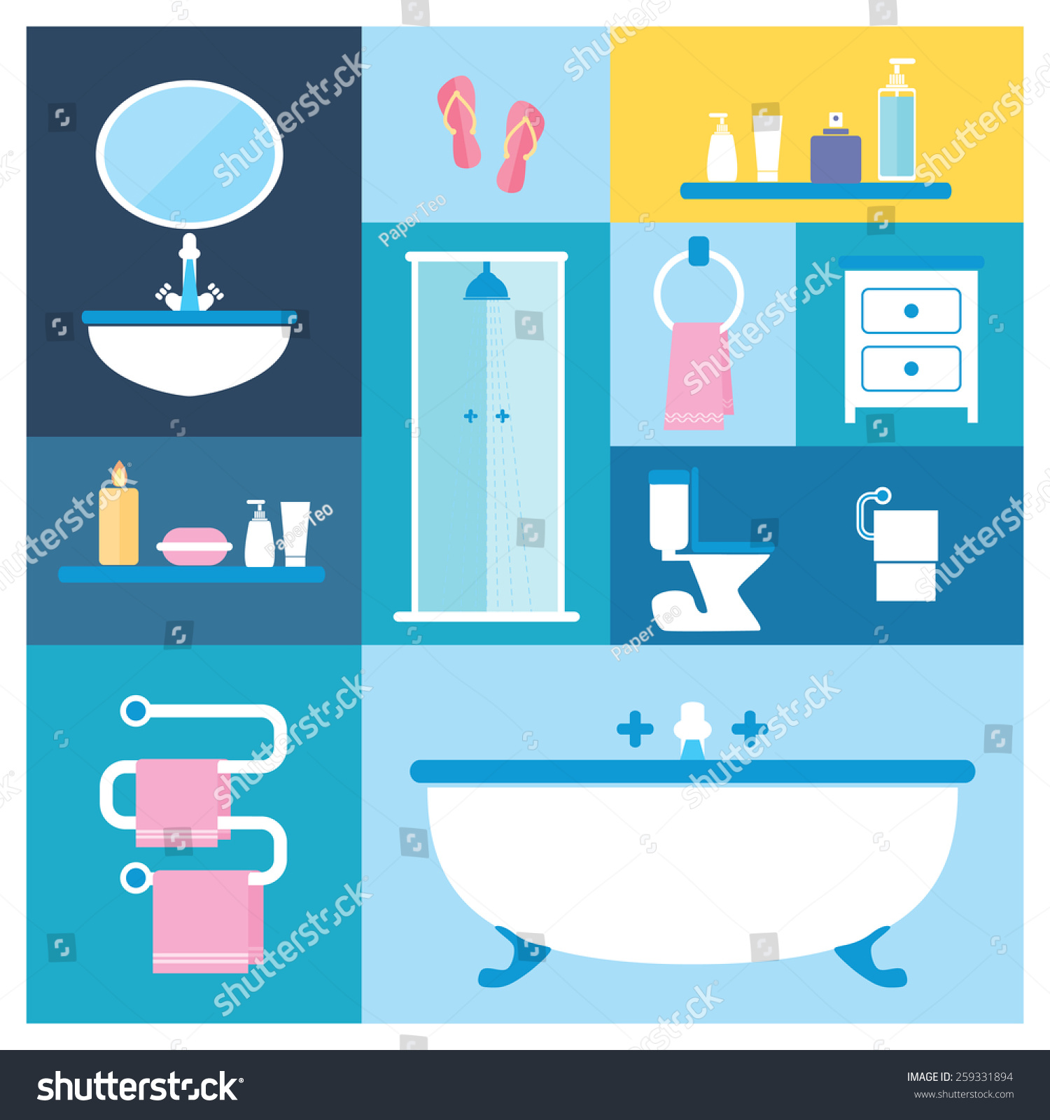 Vector Illustration Bathroom Furniture Objects Interior