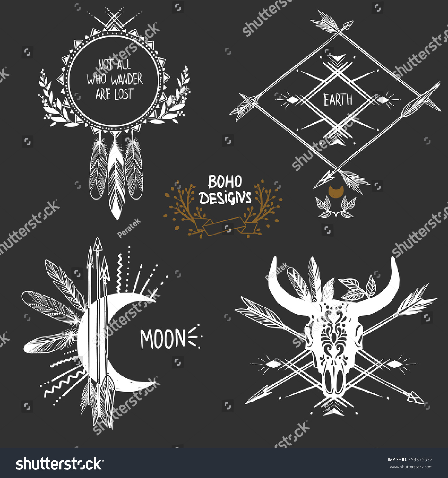 Bohemian Designs Vector Set Stock Vector 259375532 Shutterstock