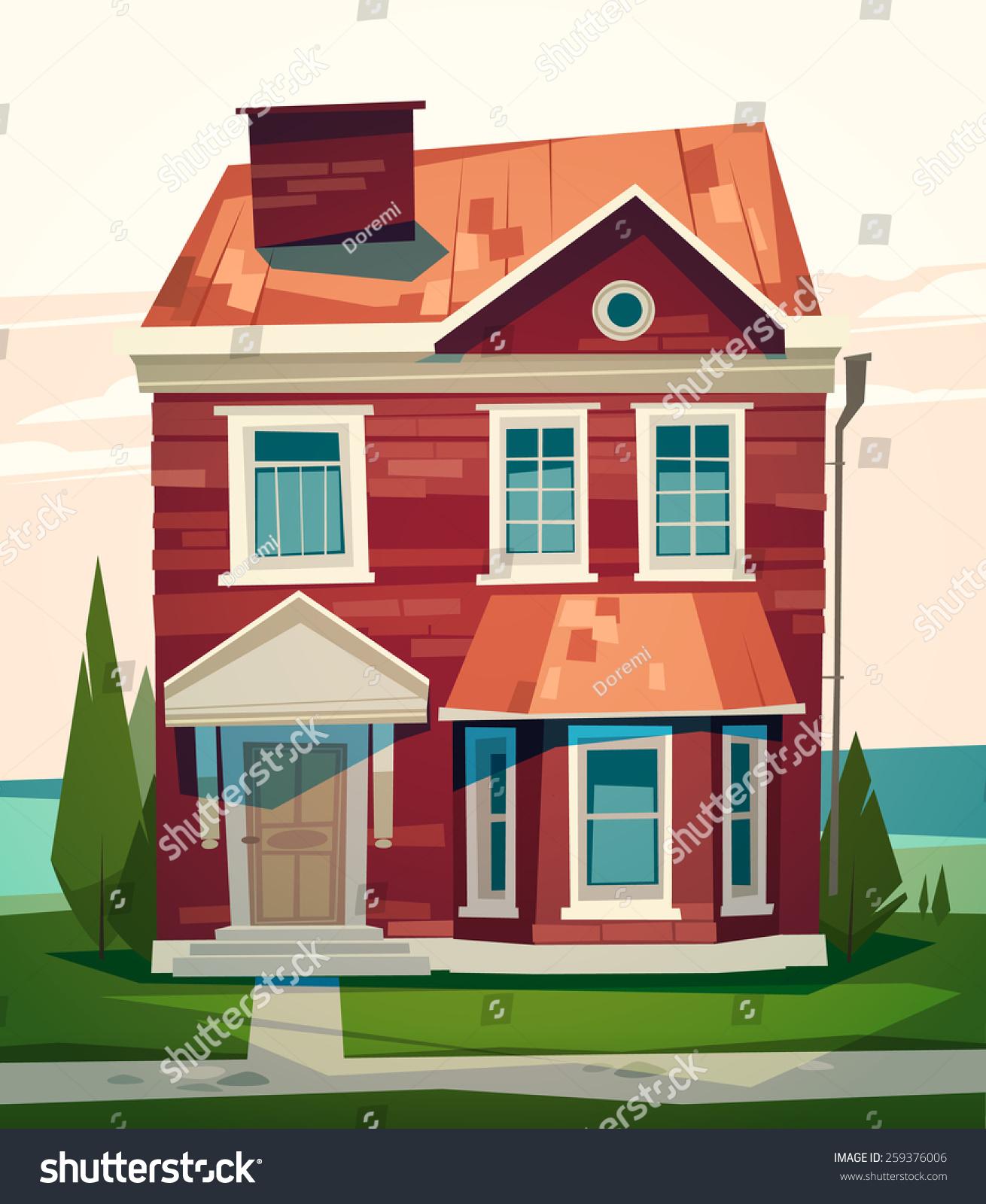 English house facade vector illustration stock vector for English house music