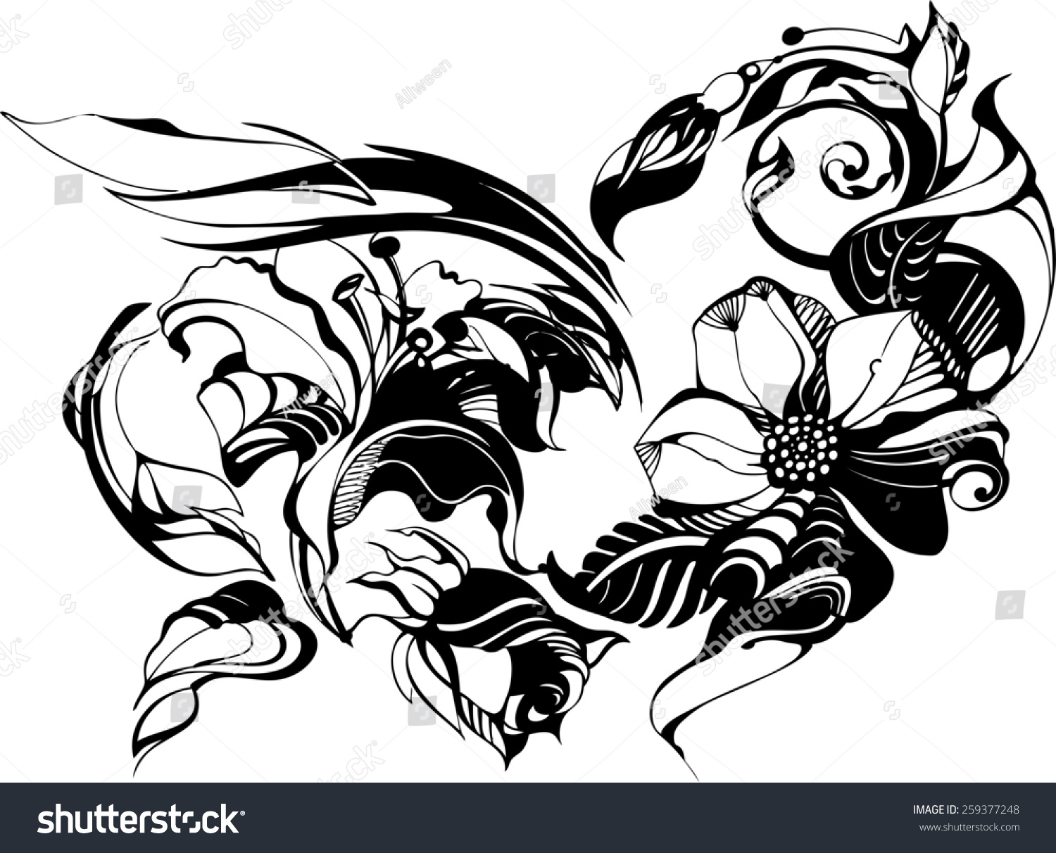 Drawing Smooth Lines Photo : Flowers drawn ink on white paper stock illustration