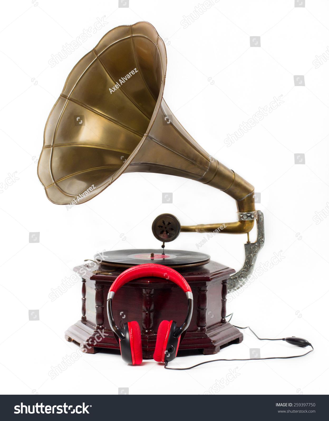 Old Gramophone Headphones Isolated On White Stock Photo