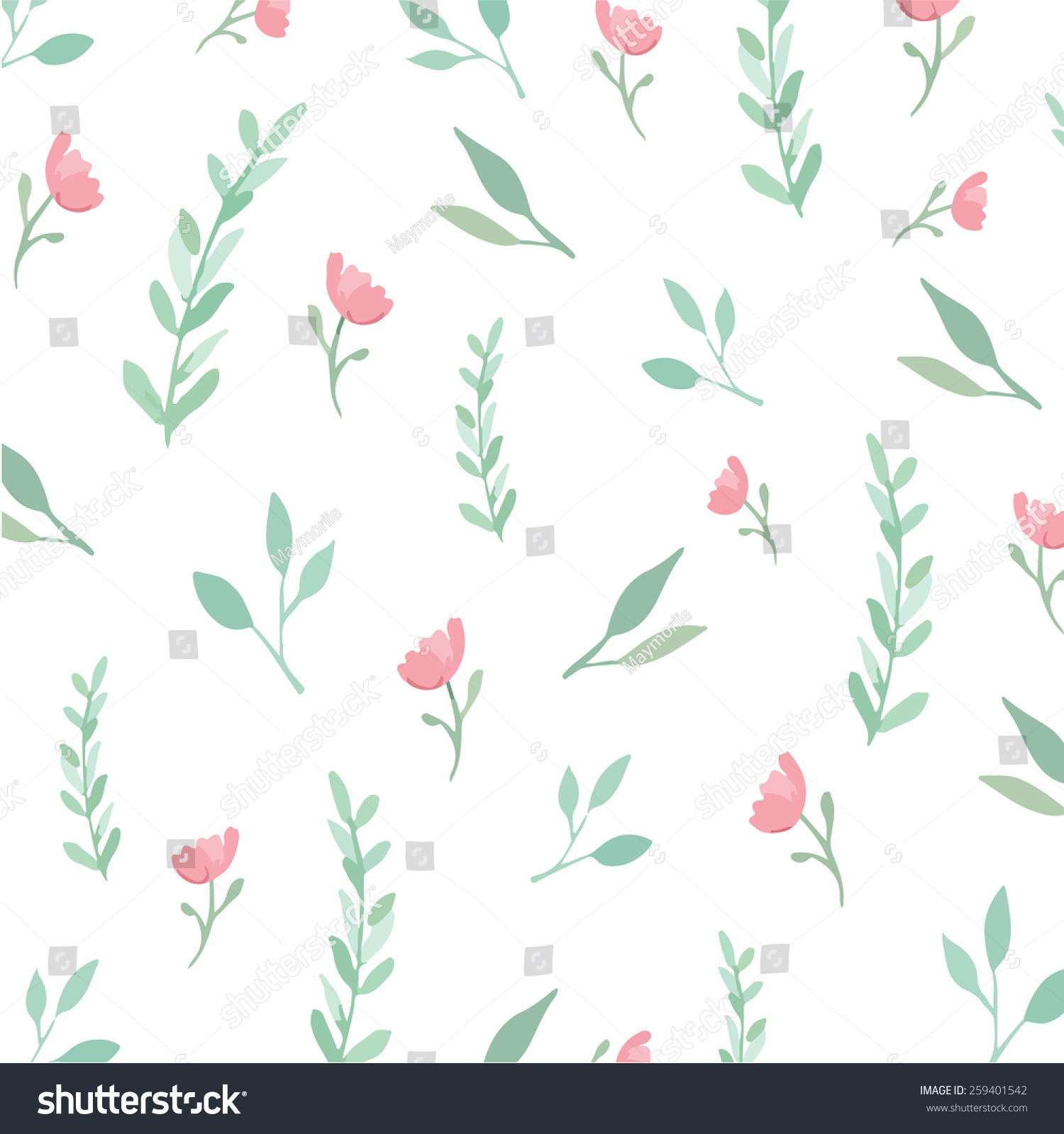 Flowers And Leaves Wallpaper Pattern Vector On Plain Background