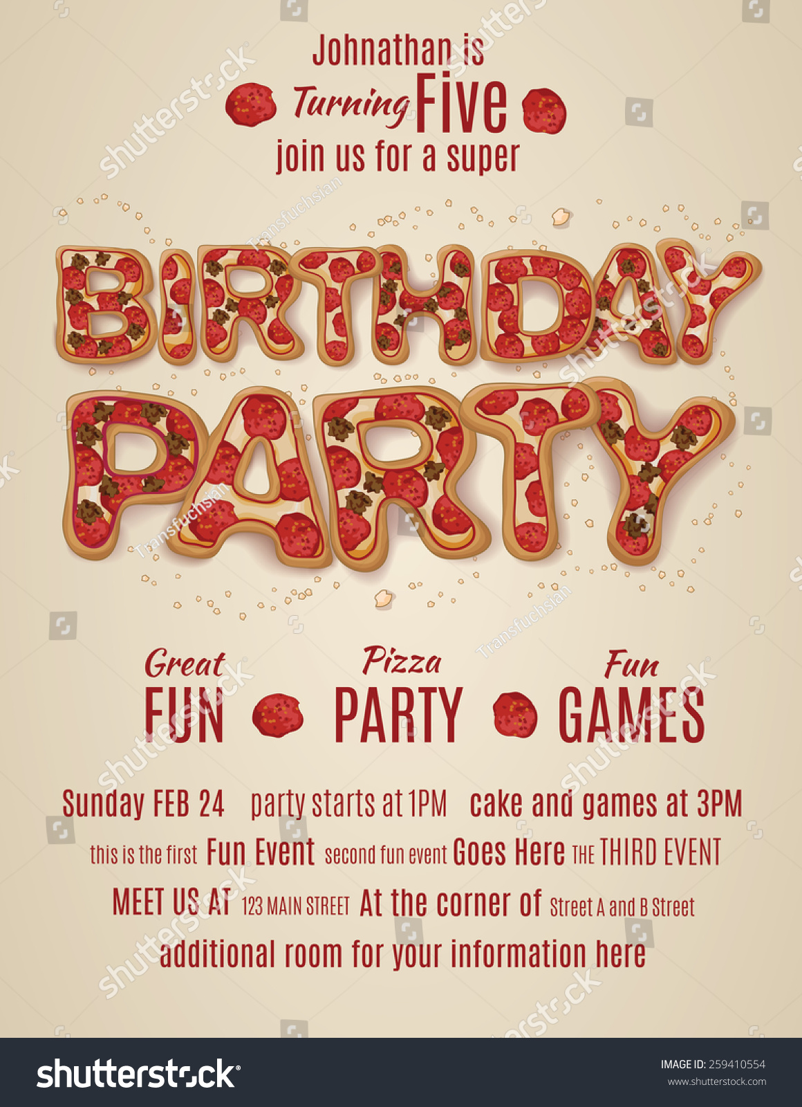 Vector pizza birthday party flyer invitation stock vektor for Pizza sale flyer template