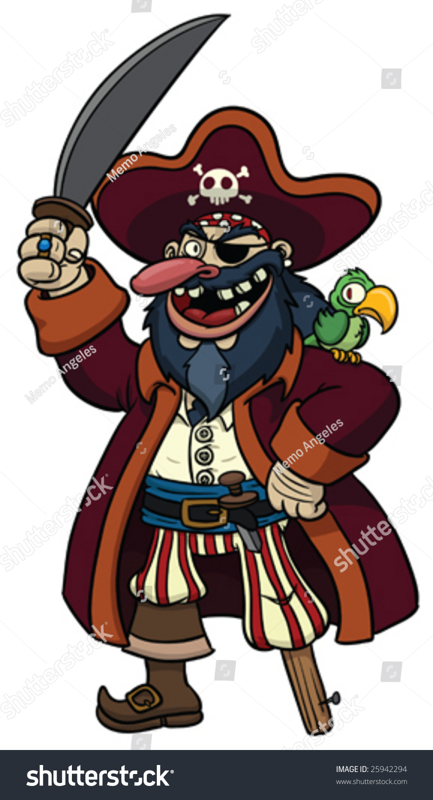 Cartoon Pirate With Parrot On His Shoulder. Stock Vector ...