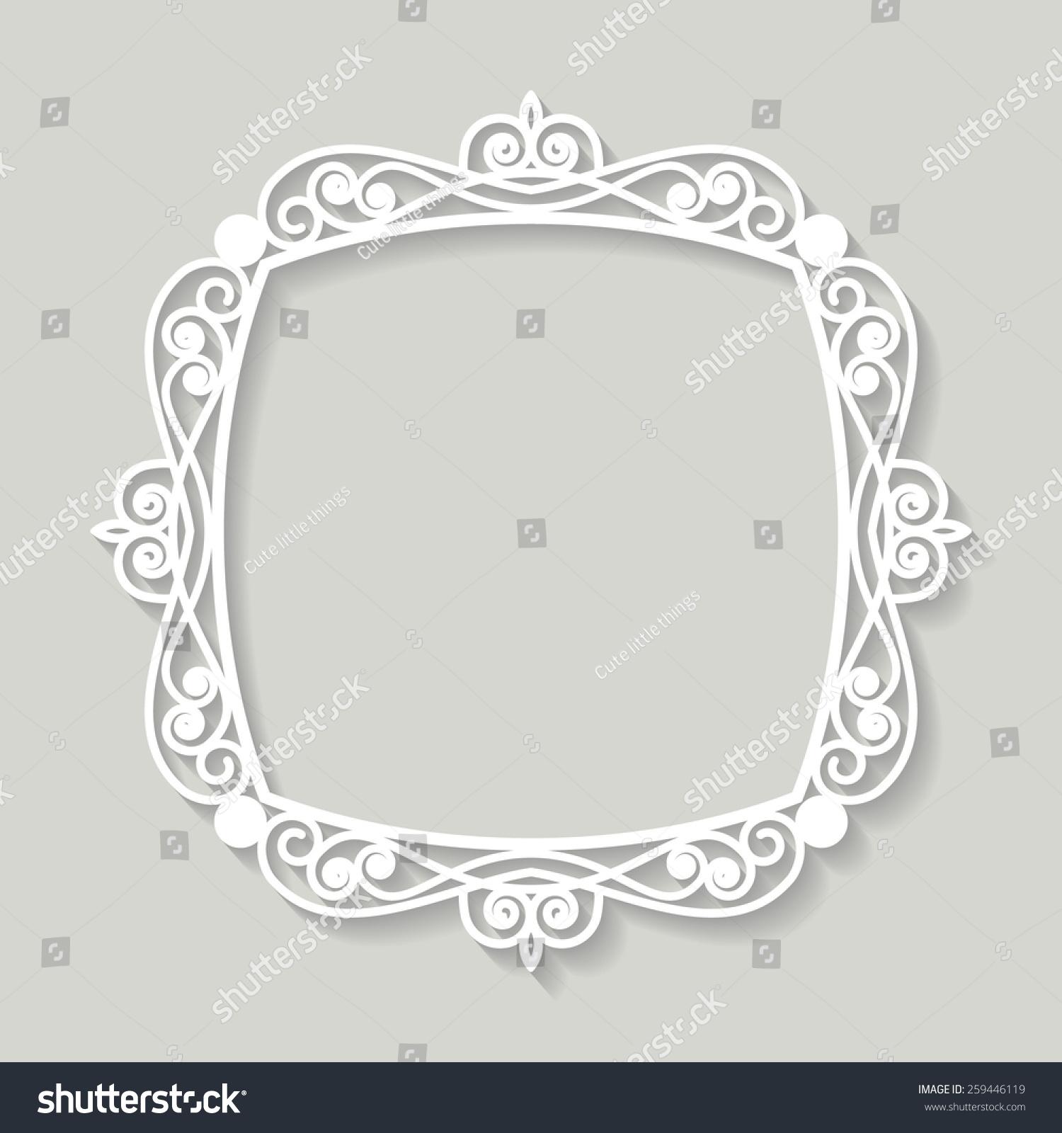 Filigree frame paper cut.   EZ Canvas