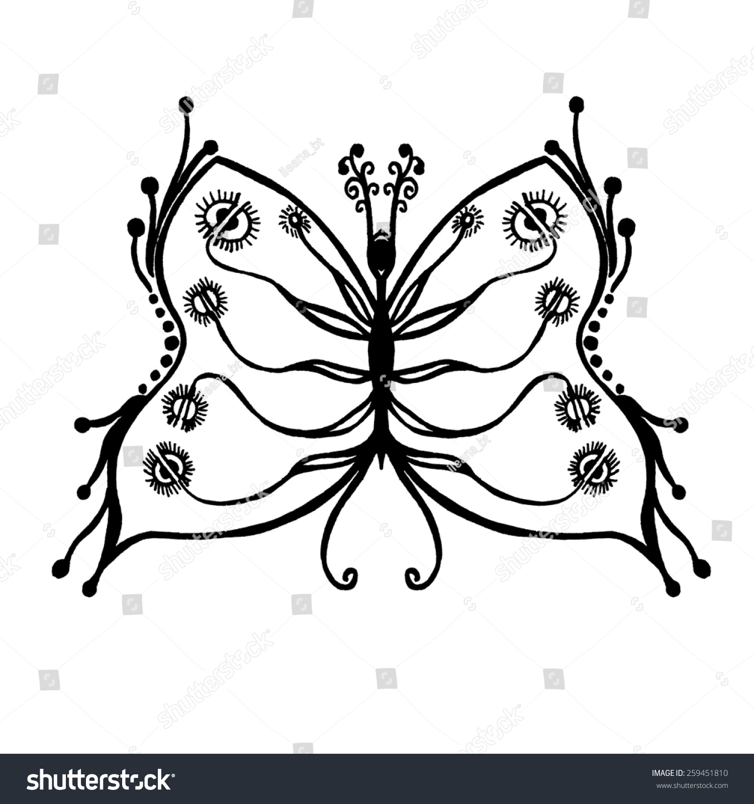 Stylized butterfly unique drawings and sketches