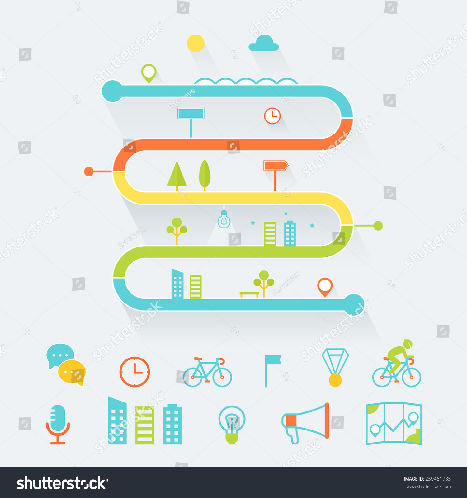 Timeline Route Road Map Infographics Elements Vector – Blank Road Map