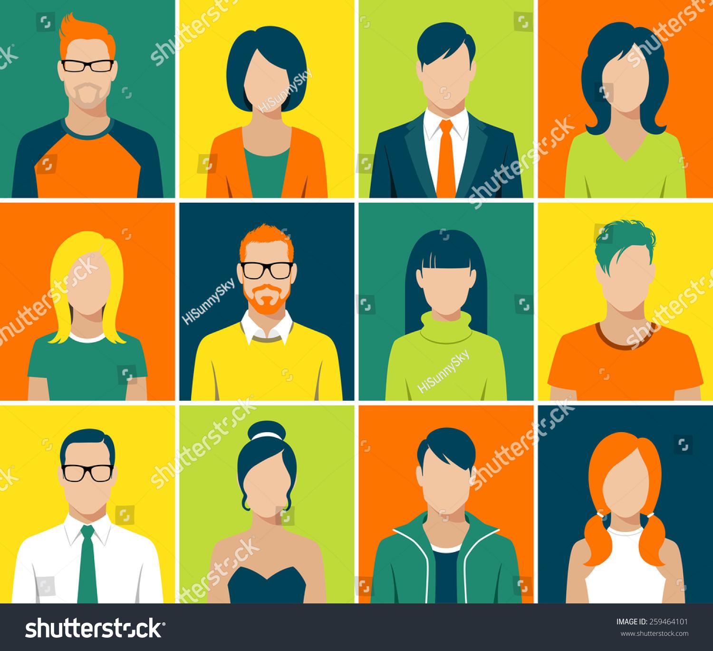 Developer Avatar: Flat Design Avatar App Icons Set User Face People Man