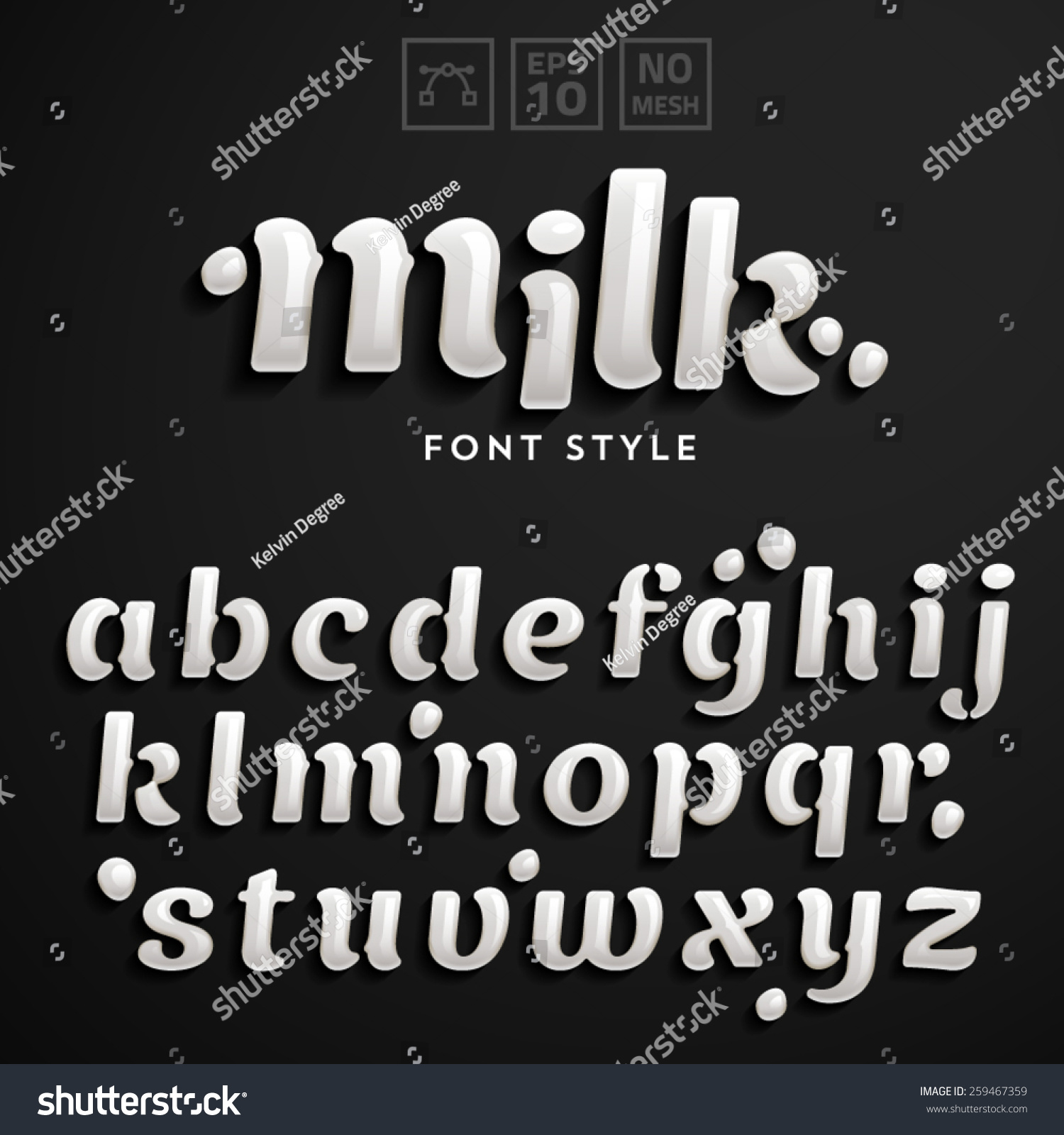 Vector Latin Alphabet Made Of Milk Font Style