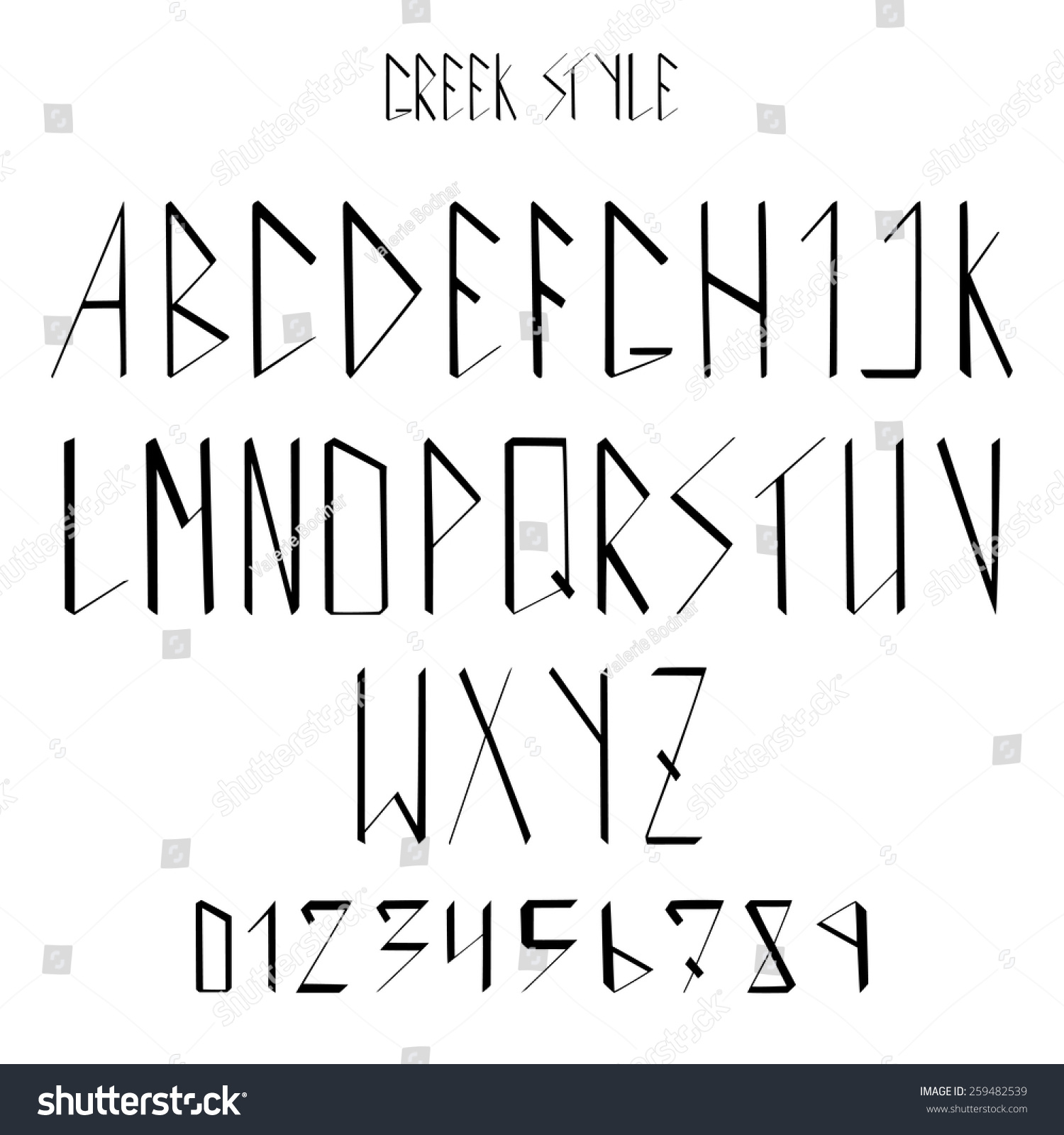 Modern alphabet and numbers in greek style classic calligraphic font and numerals abc handwritten