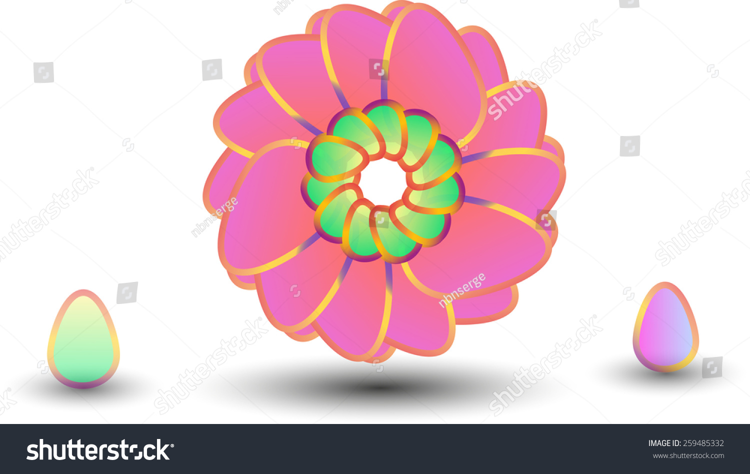 Vector Two Easter Eggs And Flower Made By Isolated On White Background