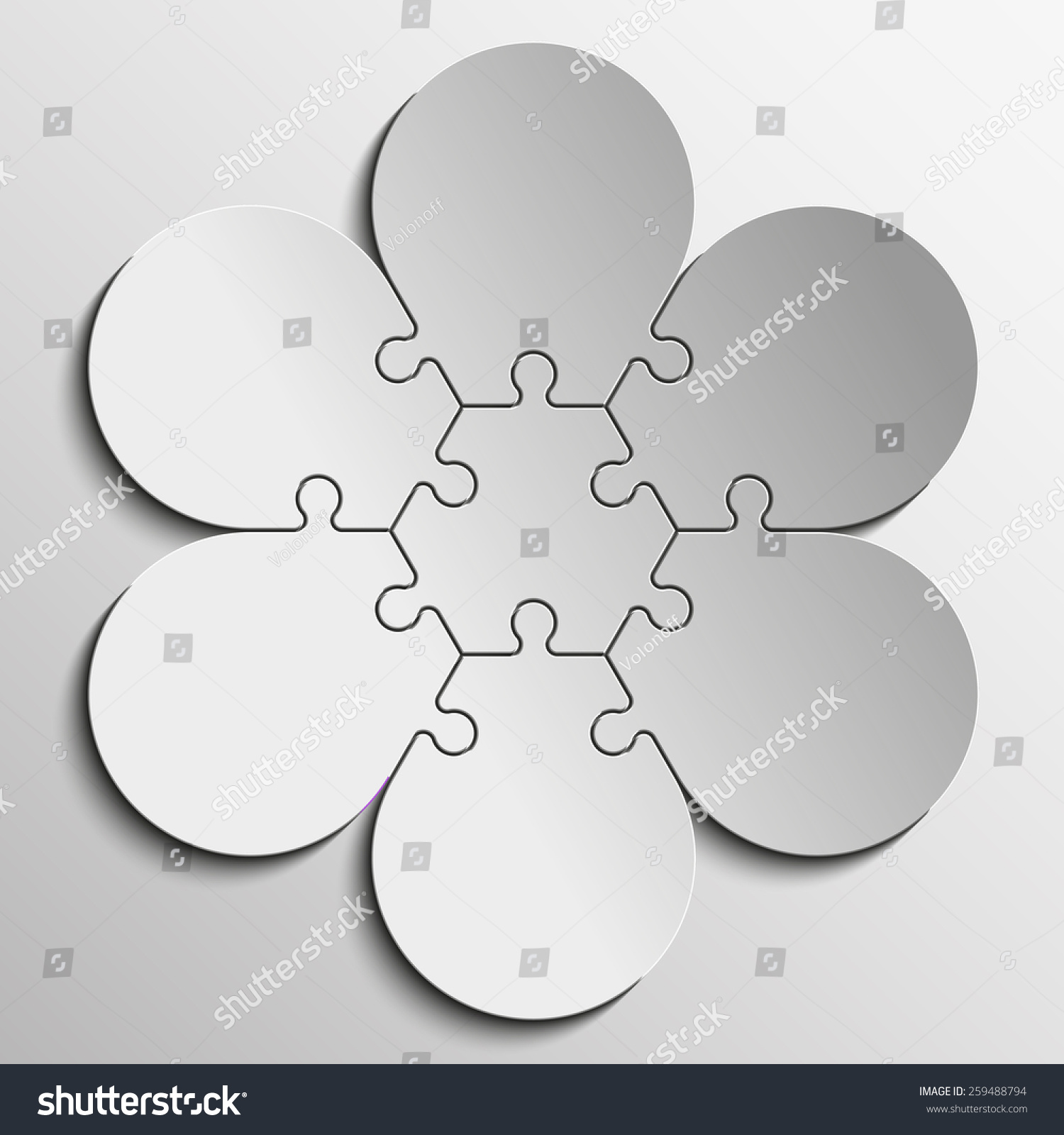 Sixpointed Flower Piece Flat Puzzle Round Stock Illustration ...
