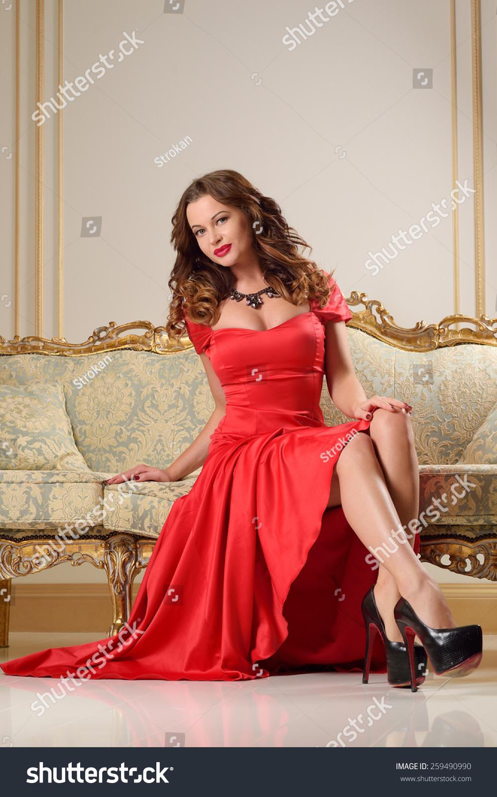 Beautiful Young Girl Red Dress Big Stock Photo 259490990 - Shutterstock-3515