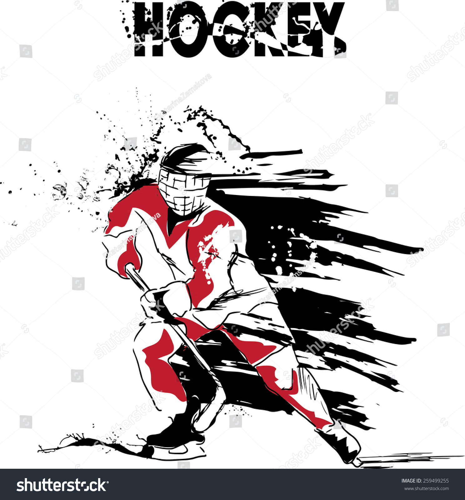 vector illustration ice hockey player hockey stock vector
