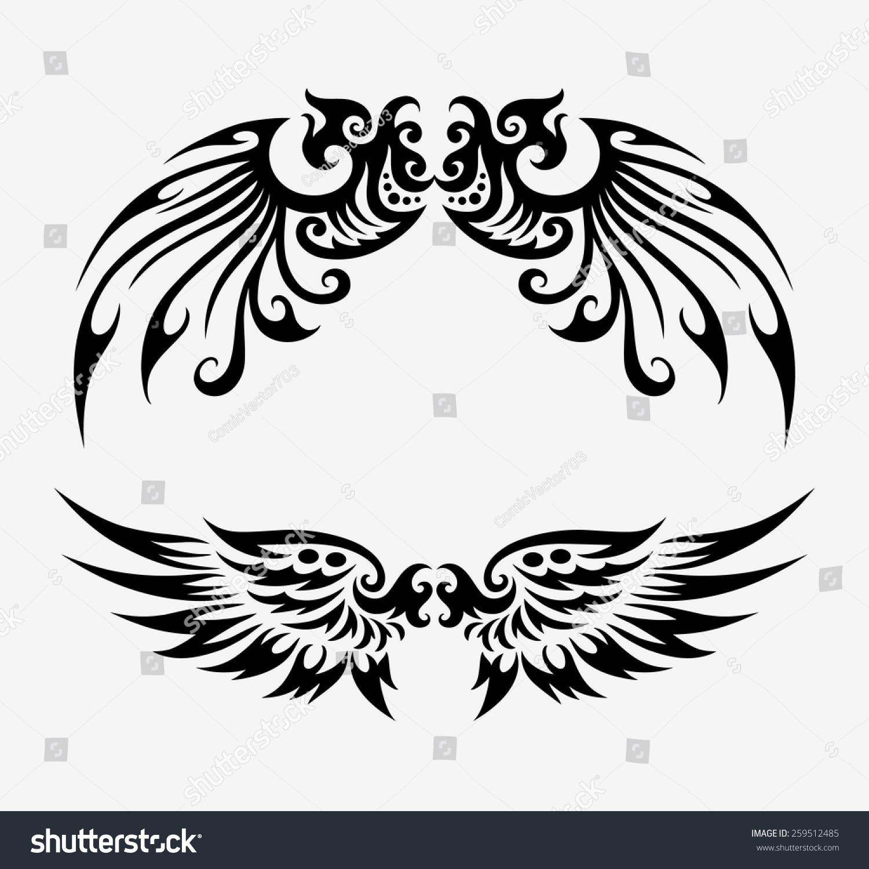 Shirt design elements - Black Wings Elements Good Use For Tattoo Design Illustration