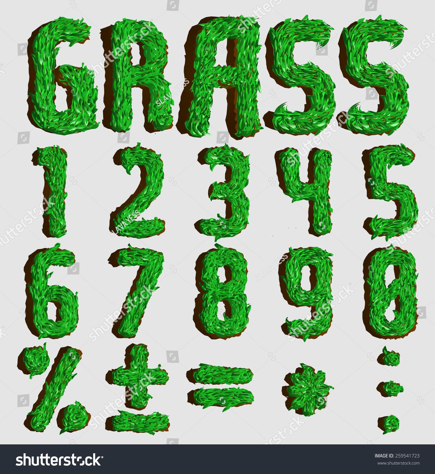 Grass Font Piece Ground Part 22 Stock Vector 259541723 Shutterstock