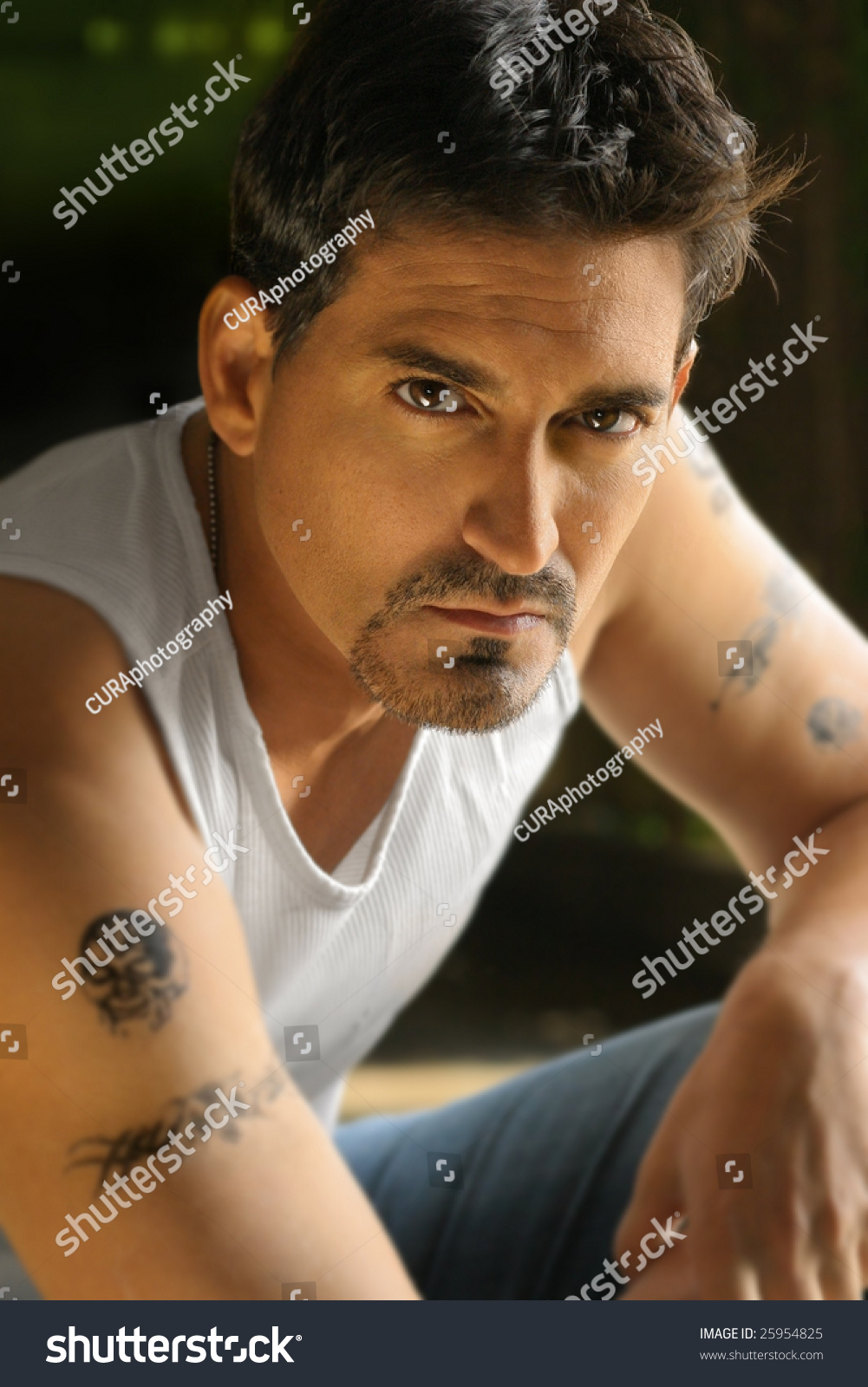 portrait tough guy white tank top stock photo 25954825 shutterstock. Black Bedroom Furniture Sets. Home Design Ideas