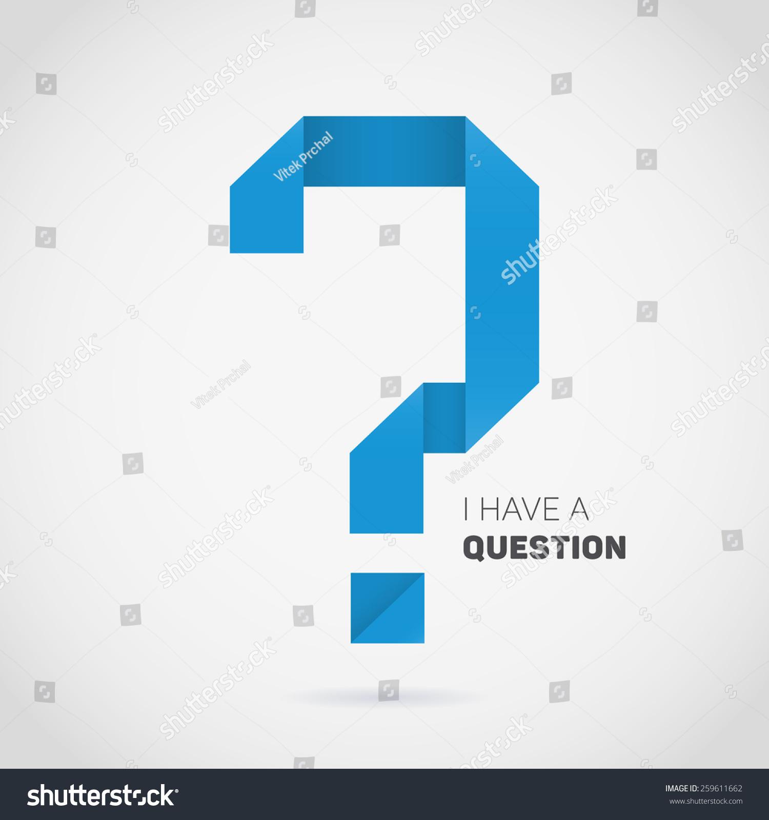 Vector Origami Question Mark Blue Symbol Stock Vector 259611662