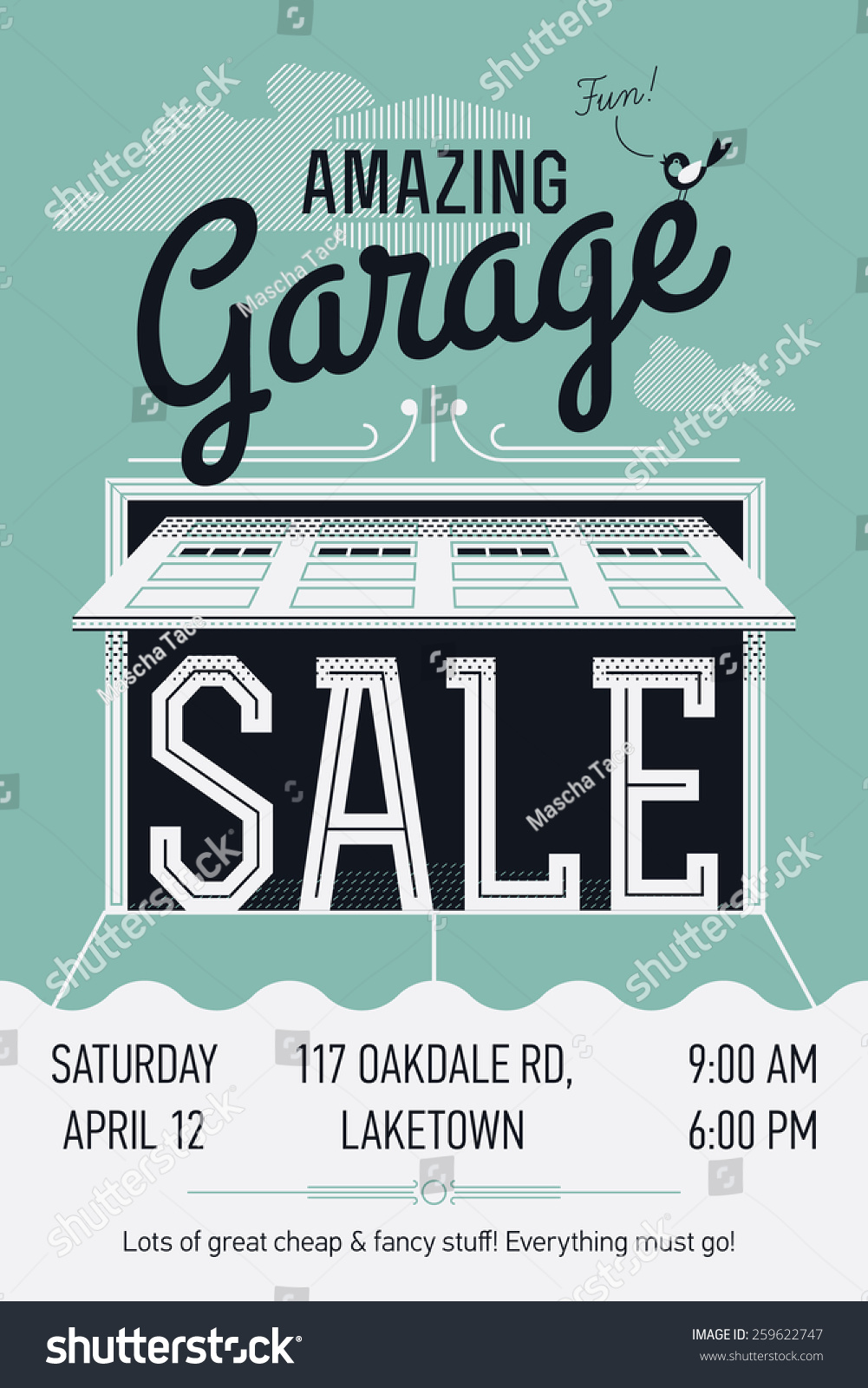 creative vector garage yard event stock vector  creative vector garage or yard event announcement printable poster or banner template