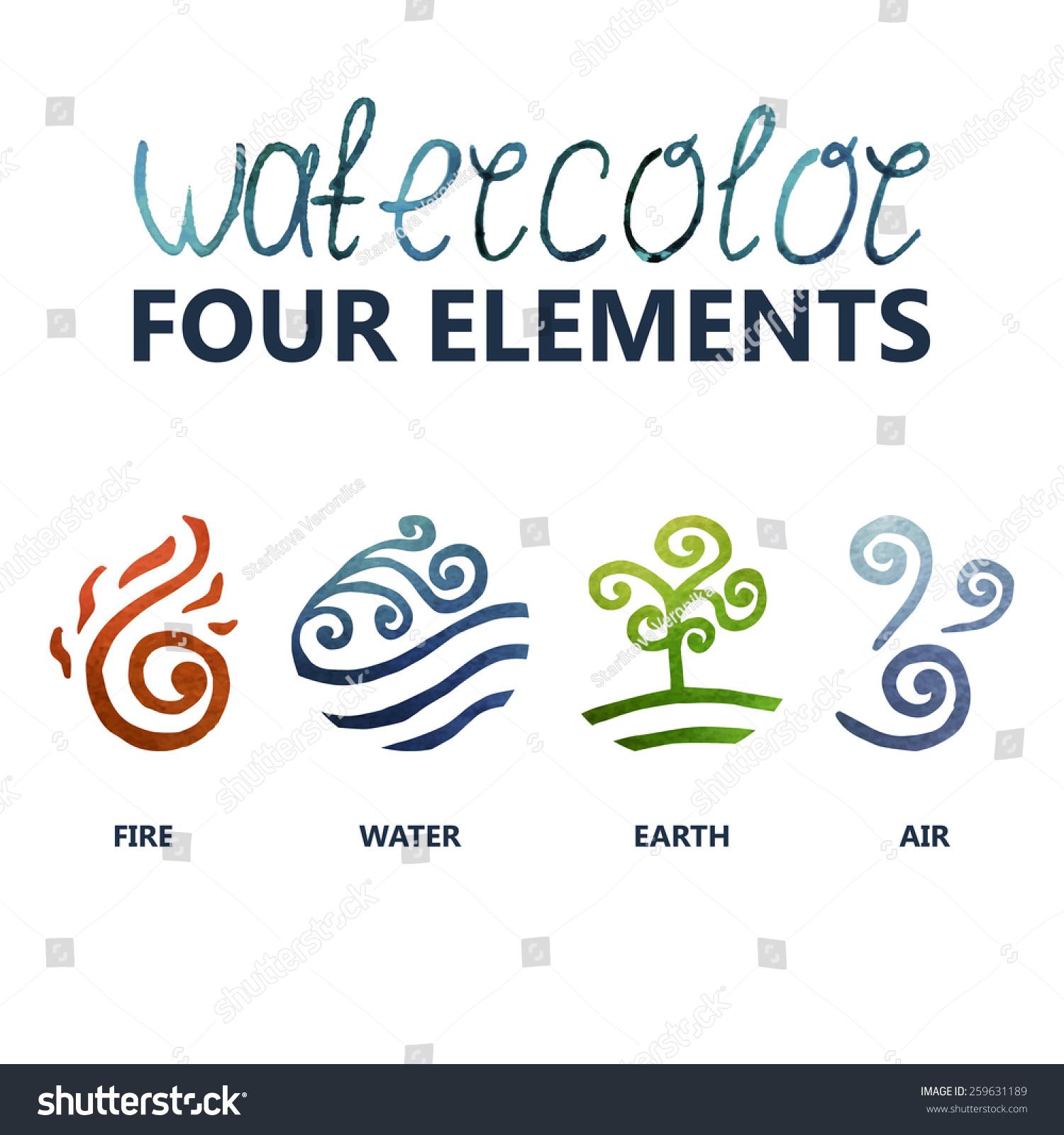 Four Elements Watercolour Artist Tuffytats: Four Elements Watercolor (Fire, Water, Earth, Air) Stock