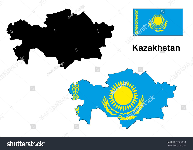 Kazakhstan Map And Flag Vector, Kazakhstan Map, Kazakhstan ...
