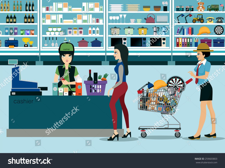 Women spend money shopping in the supermarket stock vector illustration 259683803 shutterstock - Shopping cash card paying spending ...