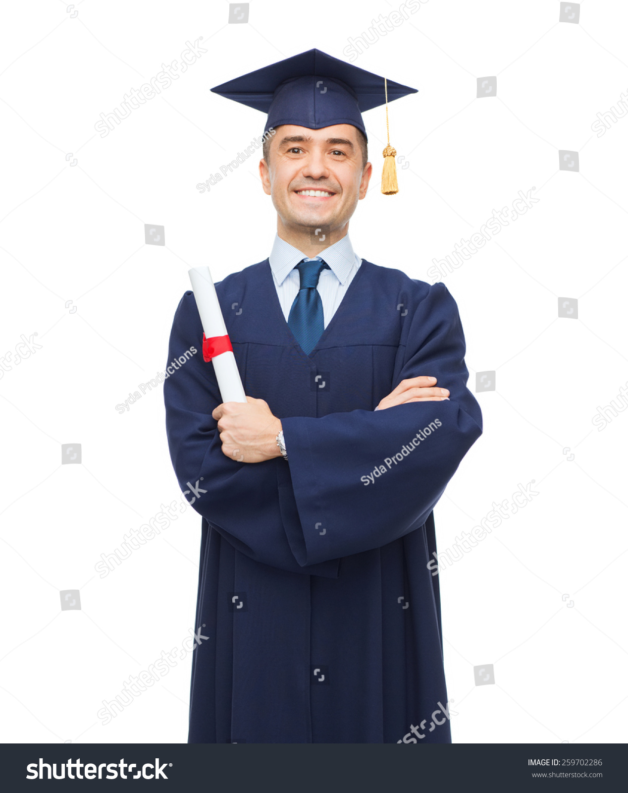education graduation people concept smiling adult stock photo  education graduation and people concept smiling adult student in mortarboard diploma
