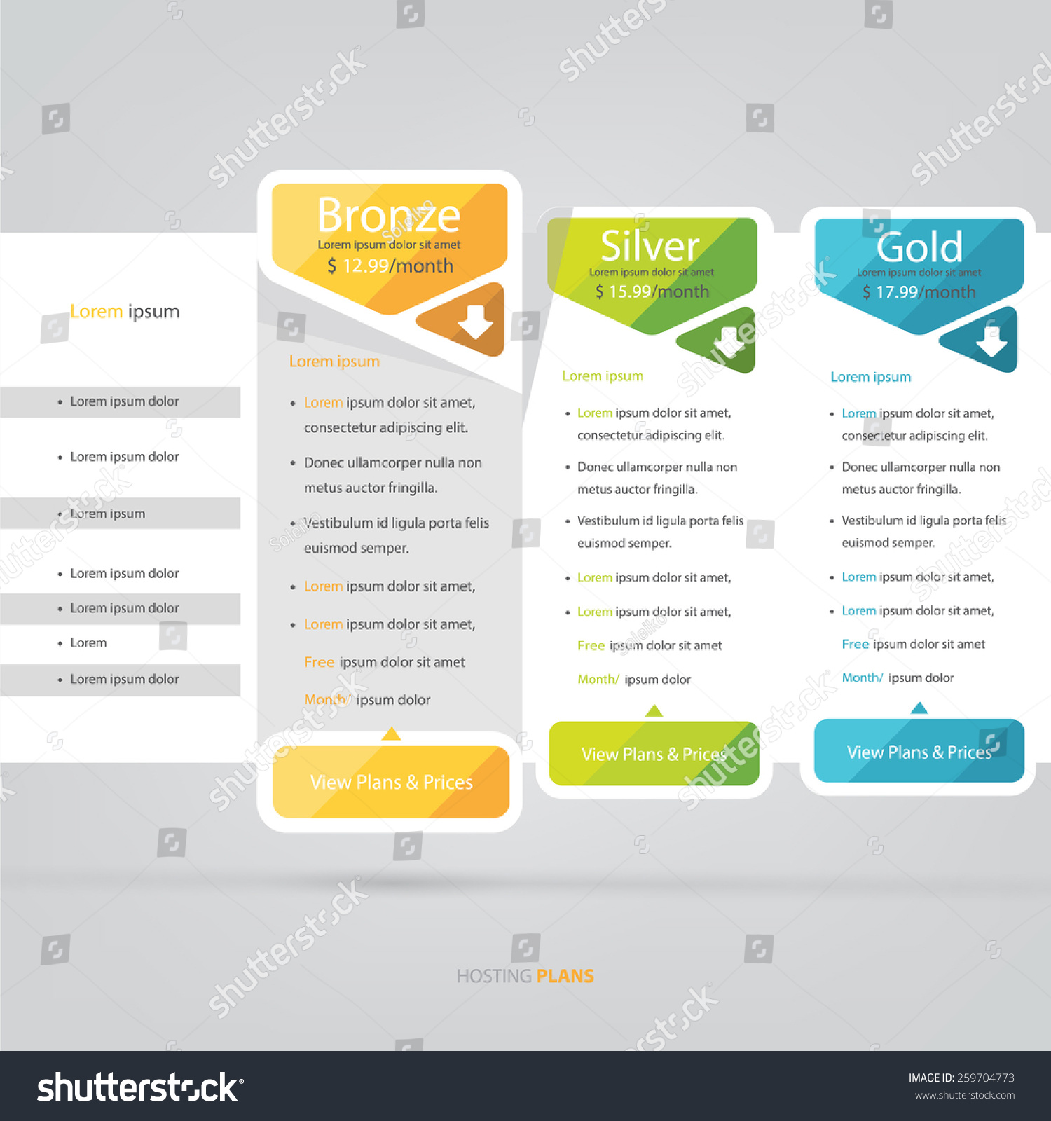 Price List Hosting Plans Web Boxes Stock Vector 259704773 ...