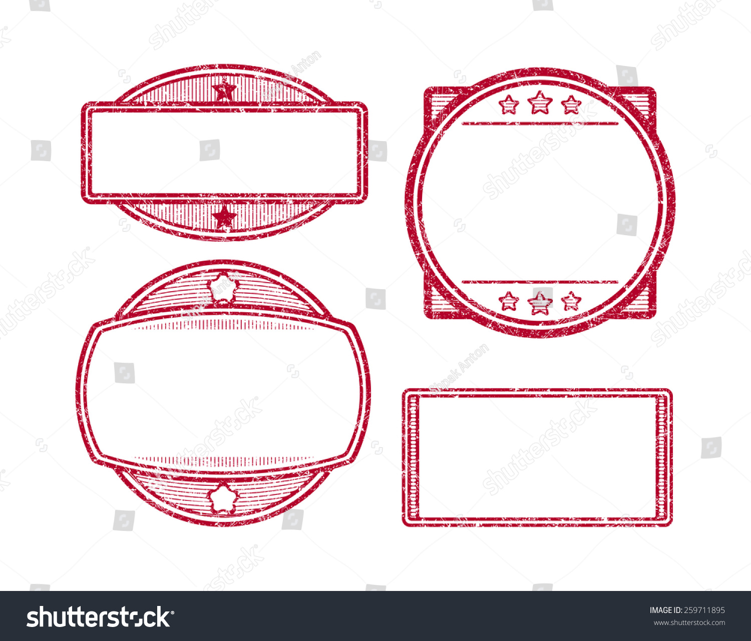 set 4 rubber stamps templates stock vector 259711895 shutterstock