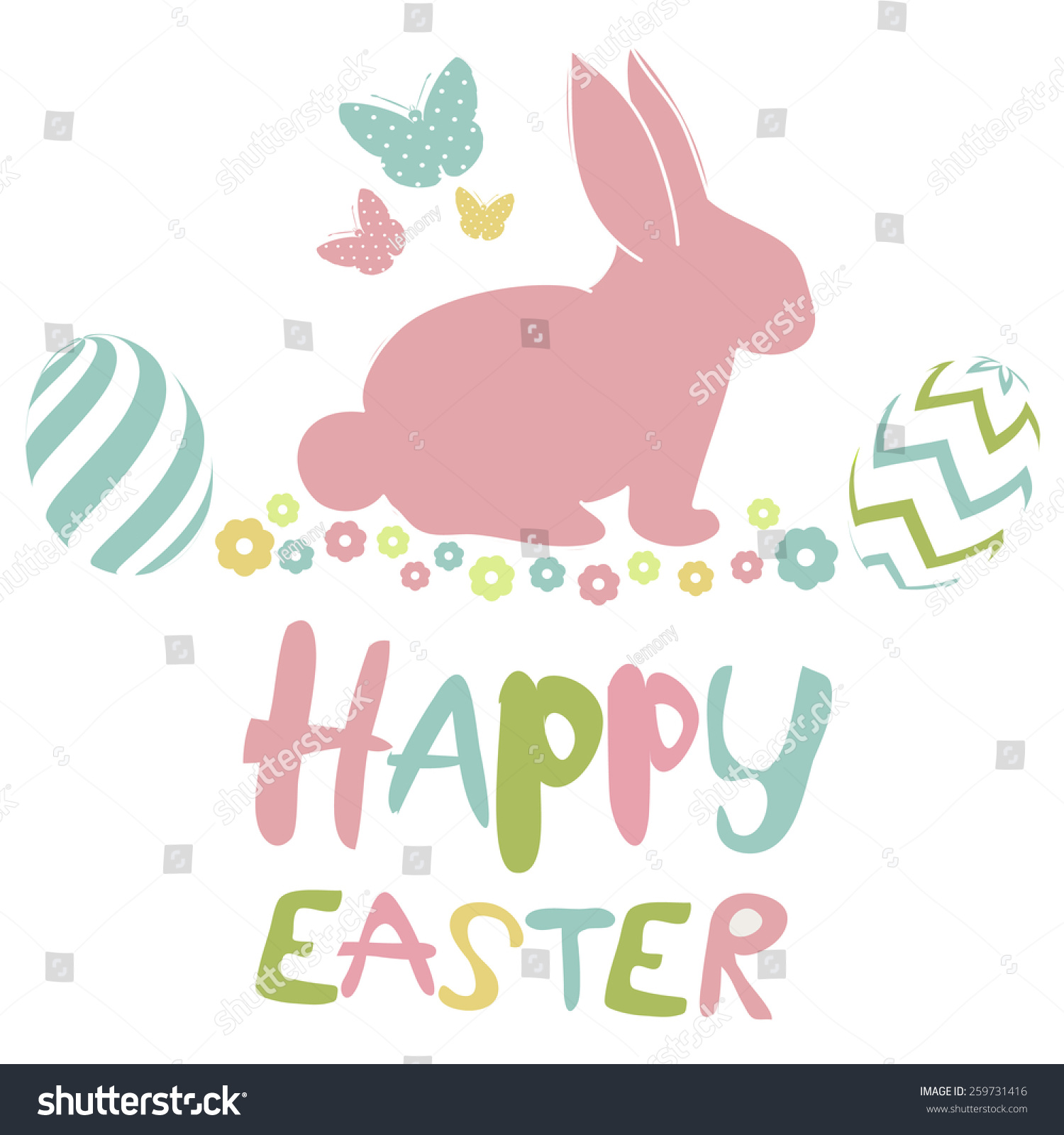 Happy Easter Card Stock Vector Illustration 259731416 ...