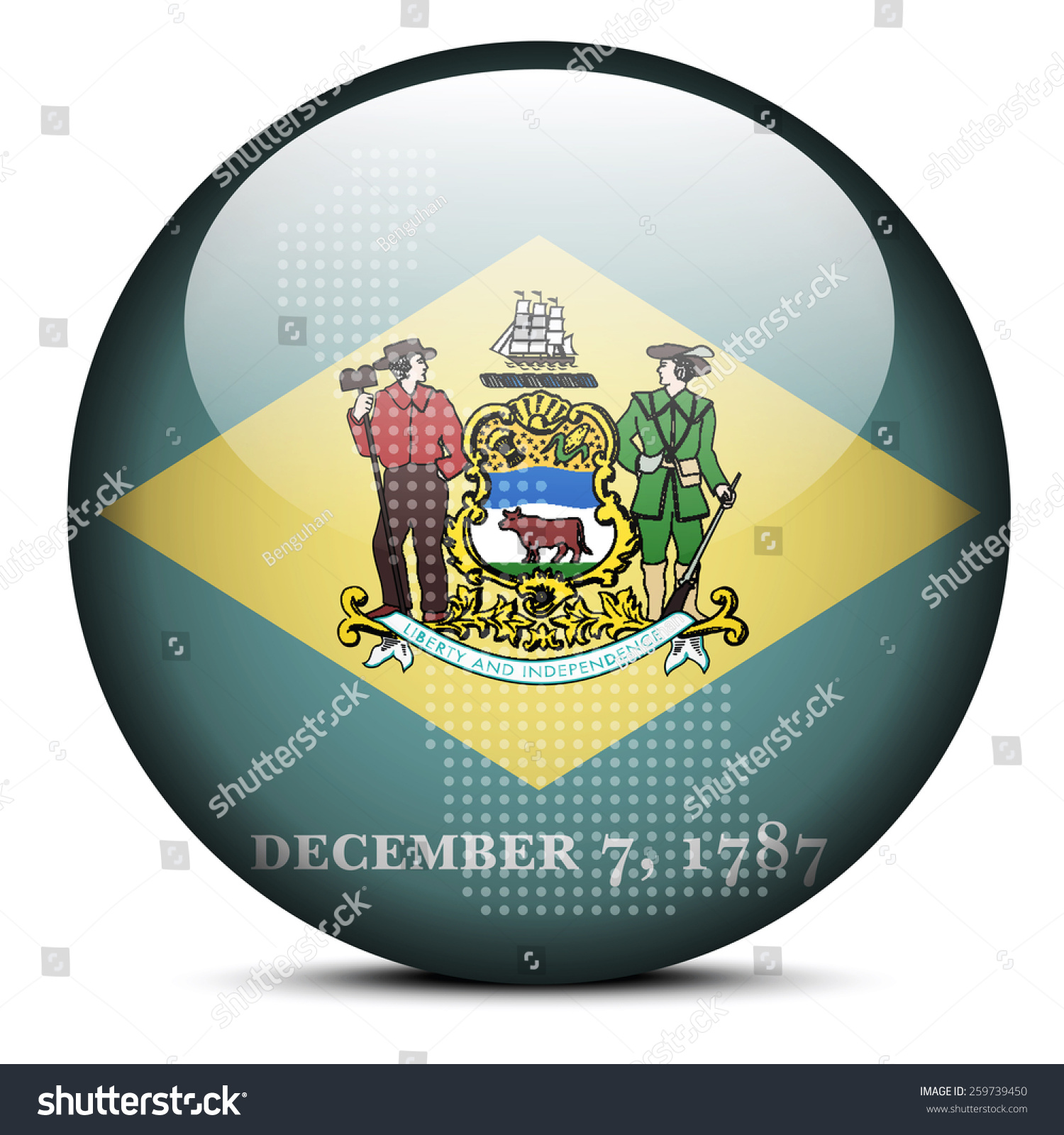 map on flag button usa delaware stock vector 259739450 shutterstock stock vector map on flag button