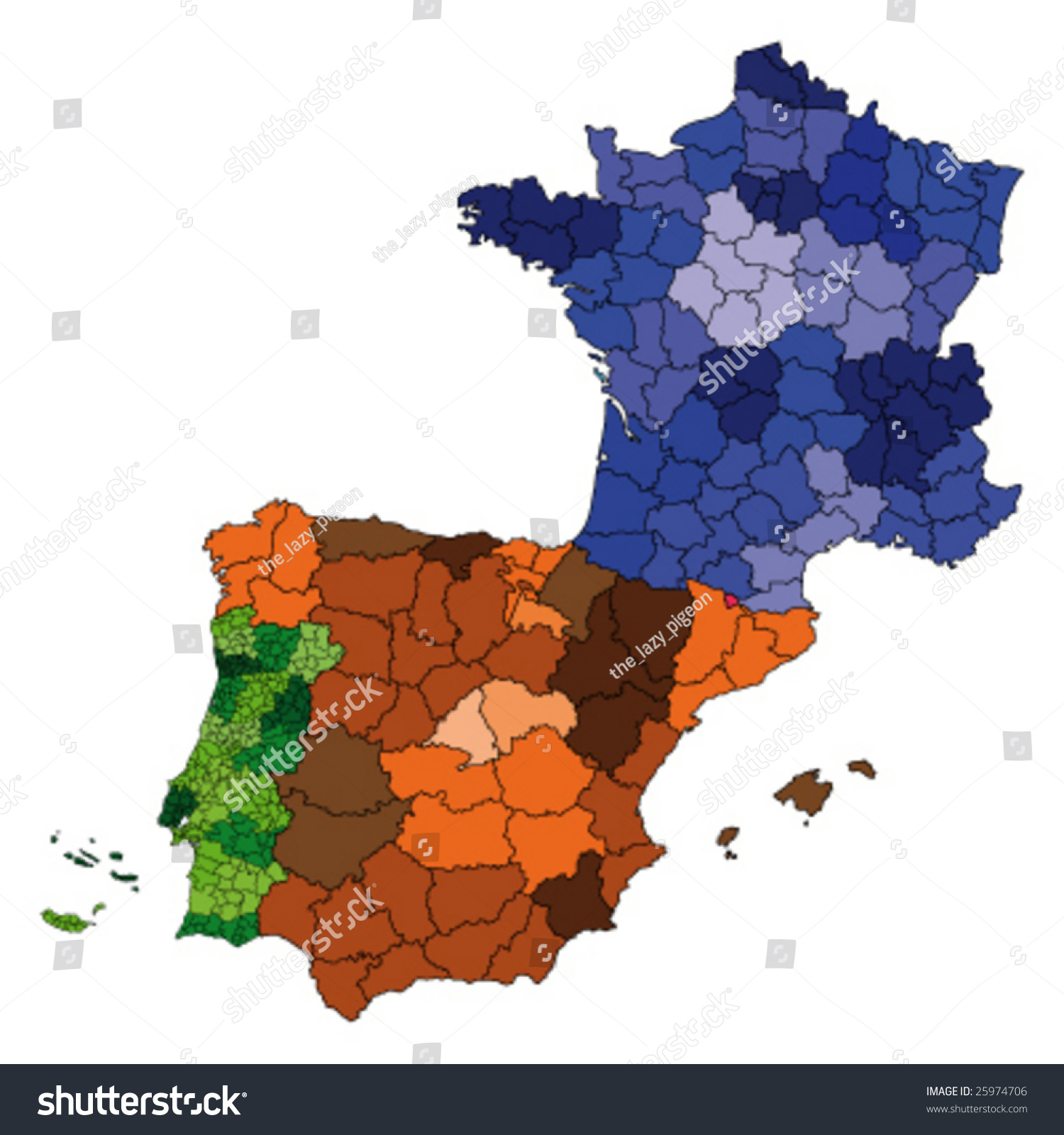Hi Detailed Map France Spain Portugal Stock Vector - Map of france and spain