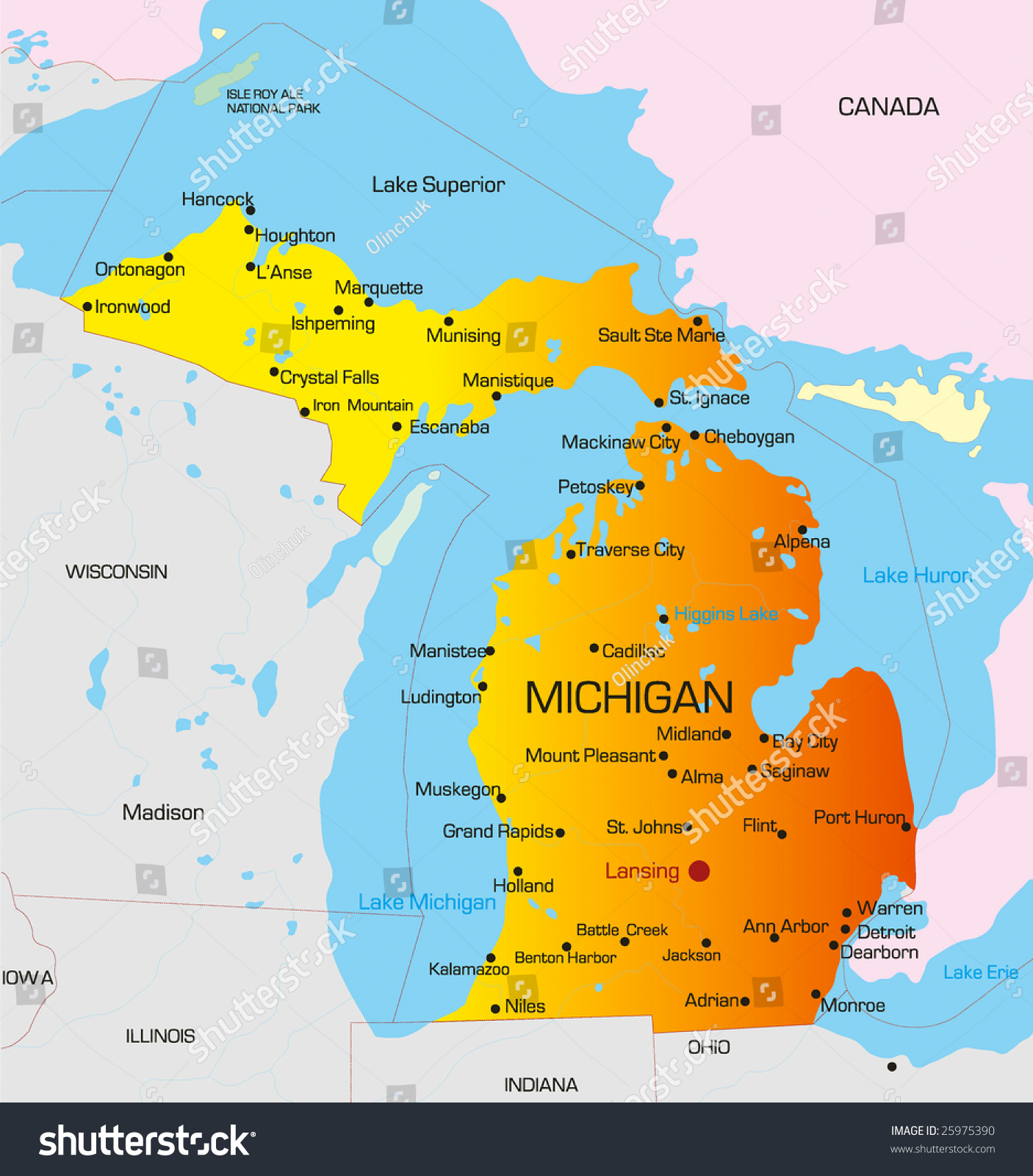 Vector Color Map Michigan State Usa Stock Vector - Michigan on map of usa