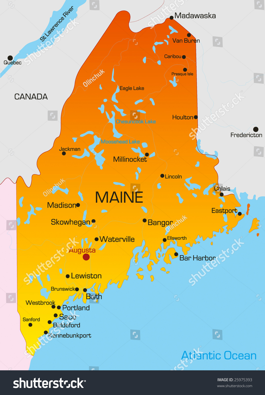 Vector Color Map Maine State Usa Stock Vector Shutterstock - Maine state usa map