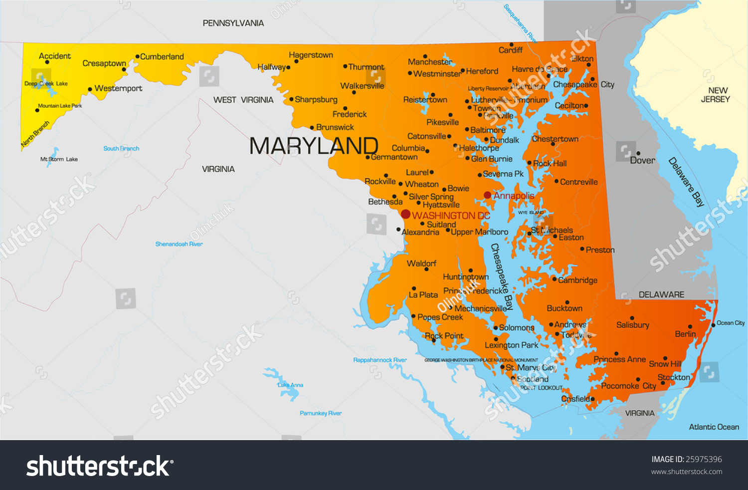 Vector Color Map Maryland State Usa Stock Vector 25975396