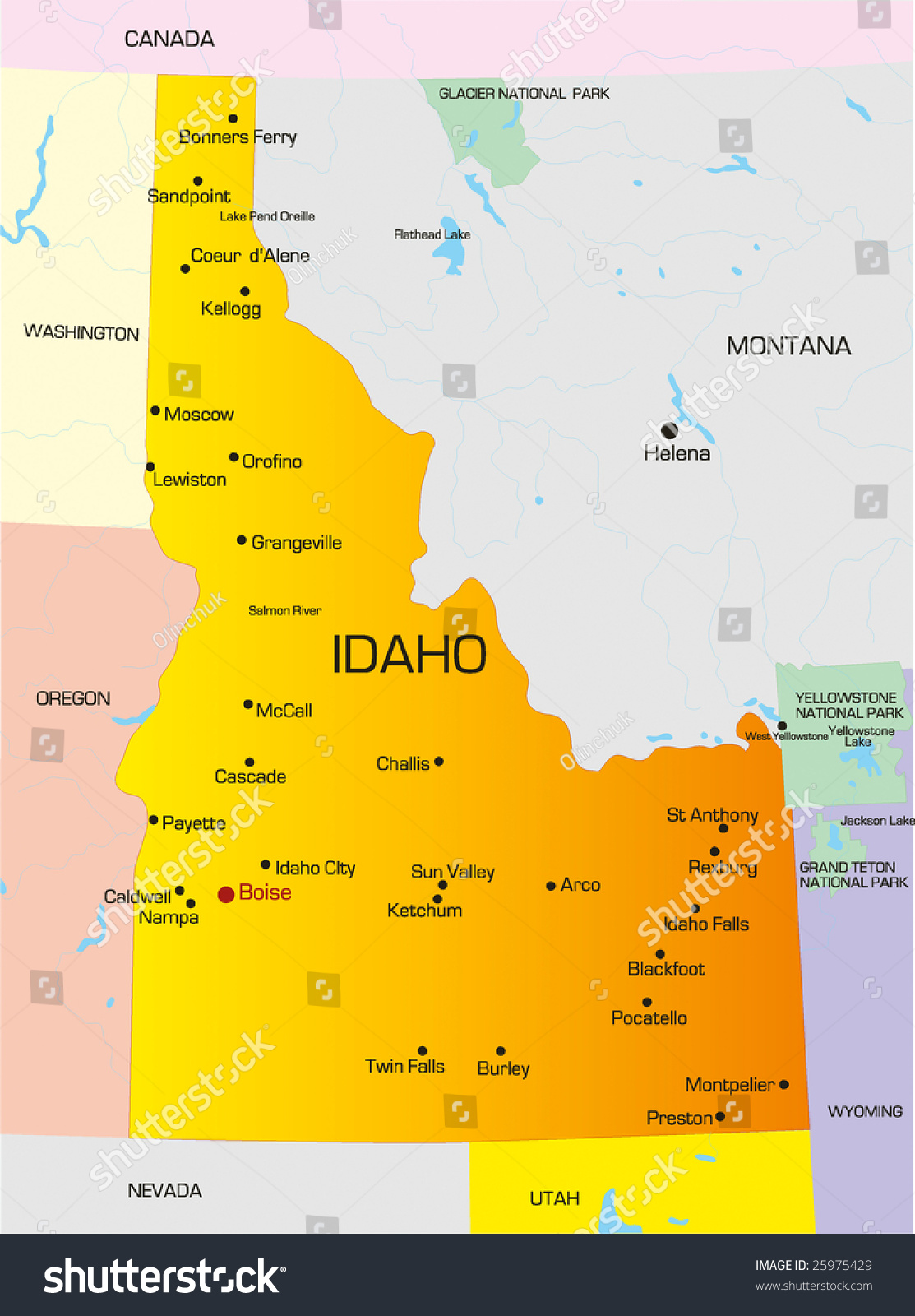 Vector Color Map Idaho State Usa Stock Vector Shutterstock - Map of idaho state