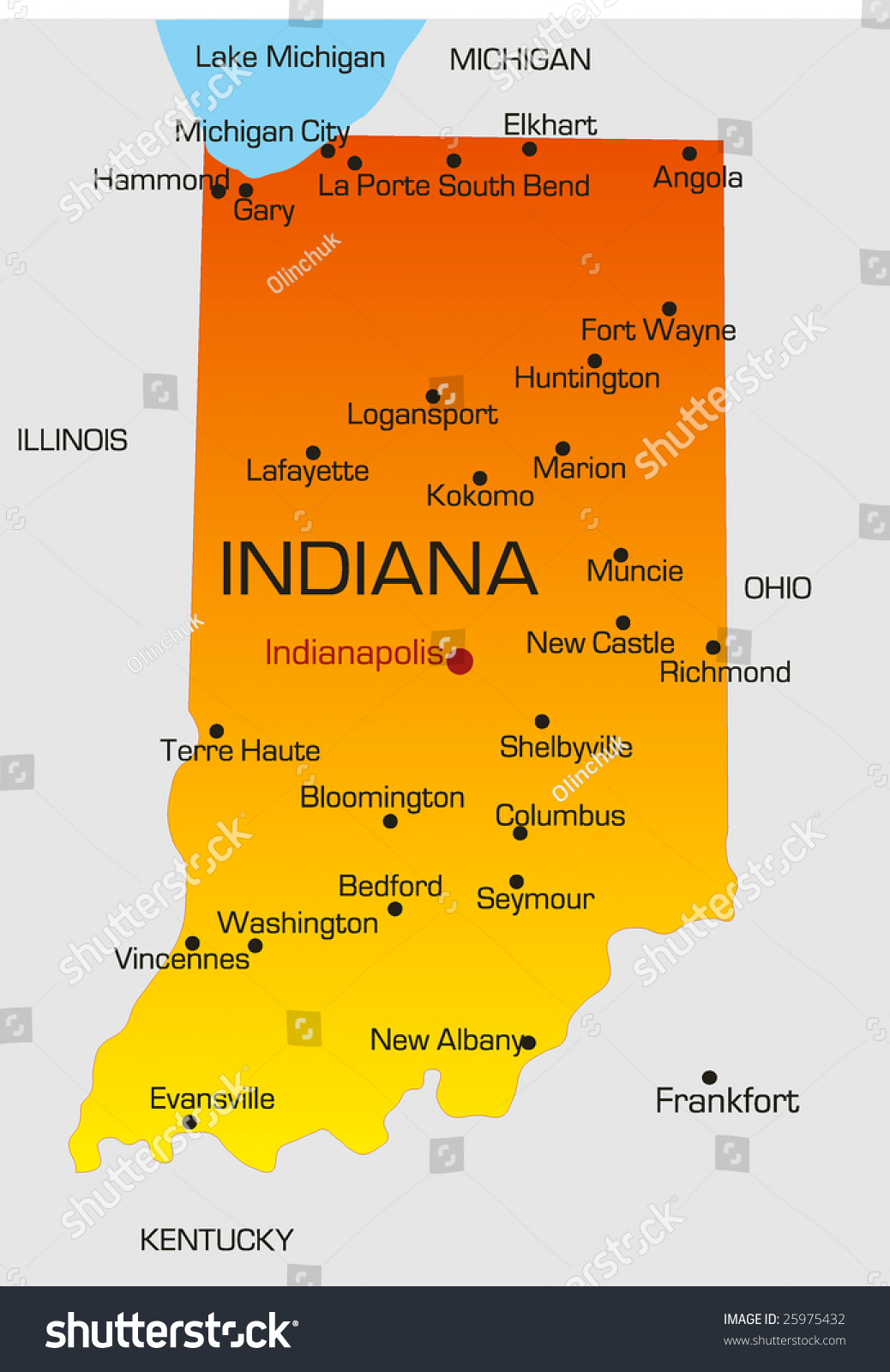 Vector Color Map Indiana State Usa Stock Vector - Indiana map of usa